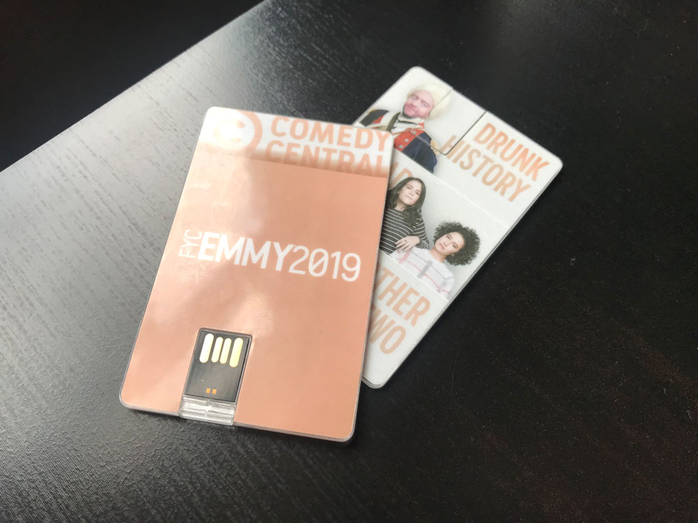 """For Your Consideration: Comedy Central Screener - For the past few years, we've been able to create some swag giveaways for Comedy Central events in the run up to the Emmy's. These """"Credit Card"""" USB drives open an app on your desktop that plays exclusive video."""