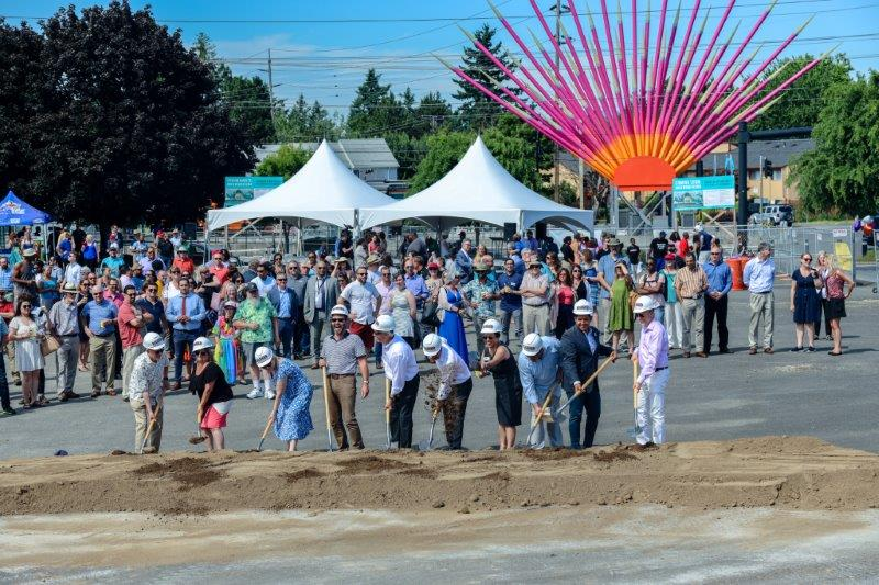 "Gresham City Council, with GRDC Executive Director Josh Fuhrer and County Commissioner Lori Stegmann, complete the ceremonial ""first dig"" at the groundbreaking celebration."