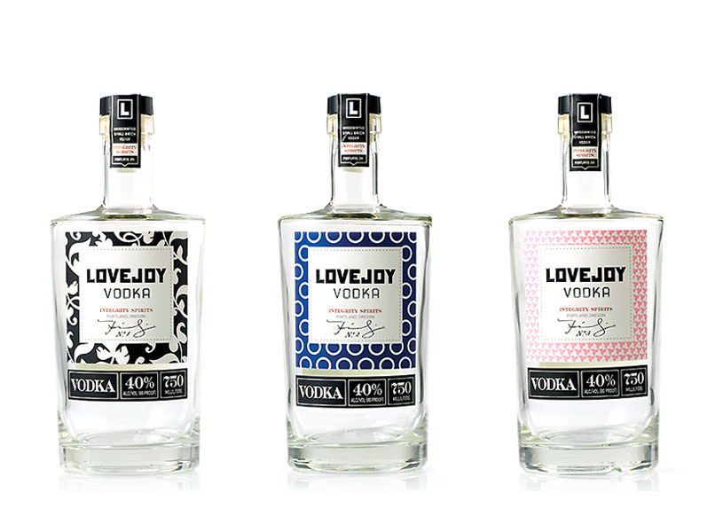 Integrity Spirits also tapped us to work on naming and design for a line of vodkas. Lovejoy is a street in NW Portland. And also the Reverend in The Simpsons.These are the lovelies were designed by  Jared Milam .