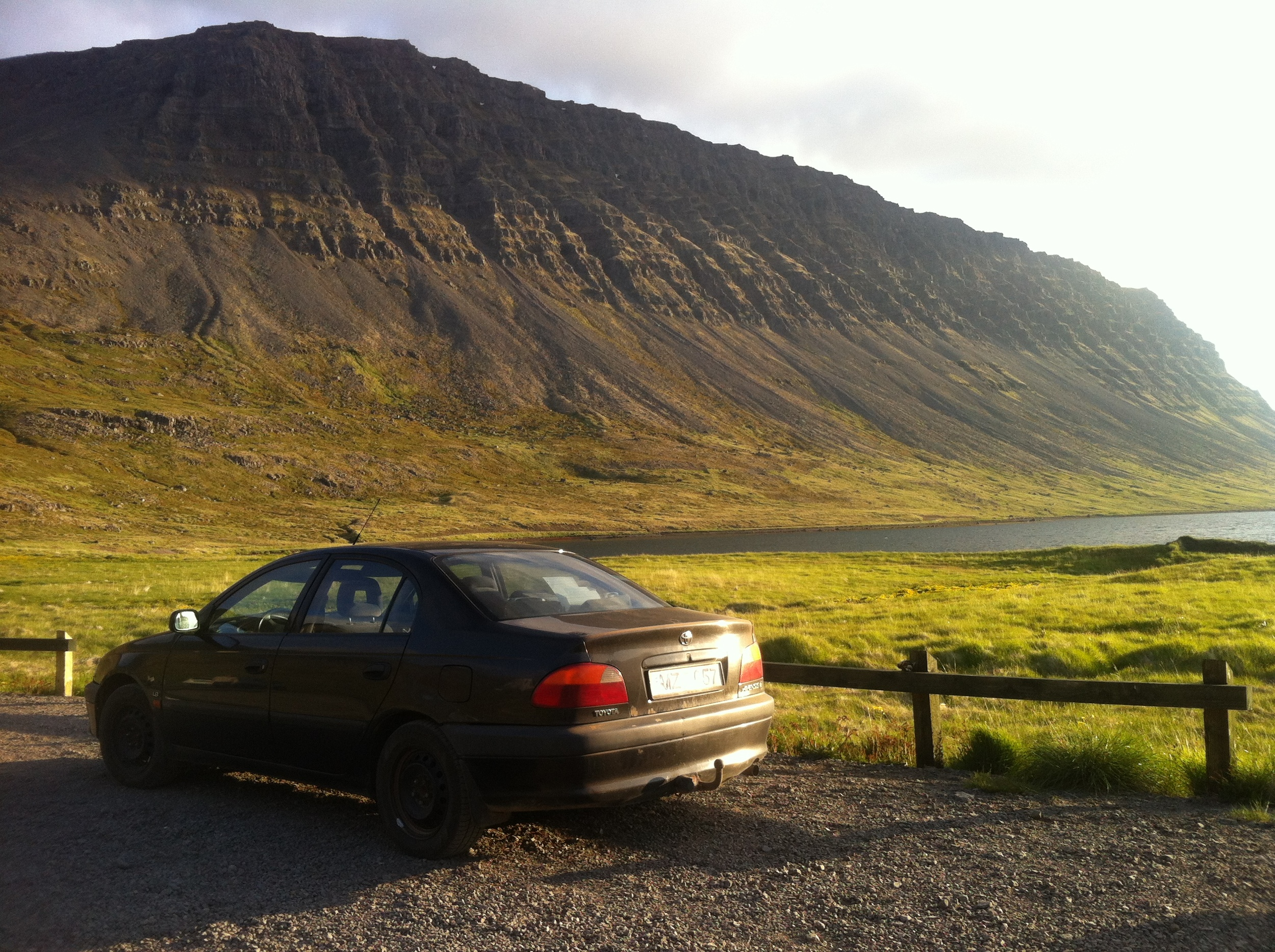 Our Toyota Avensis, 1999 resting at the bottom of the fjord.