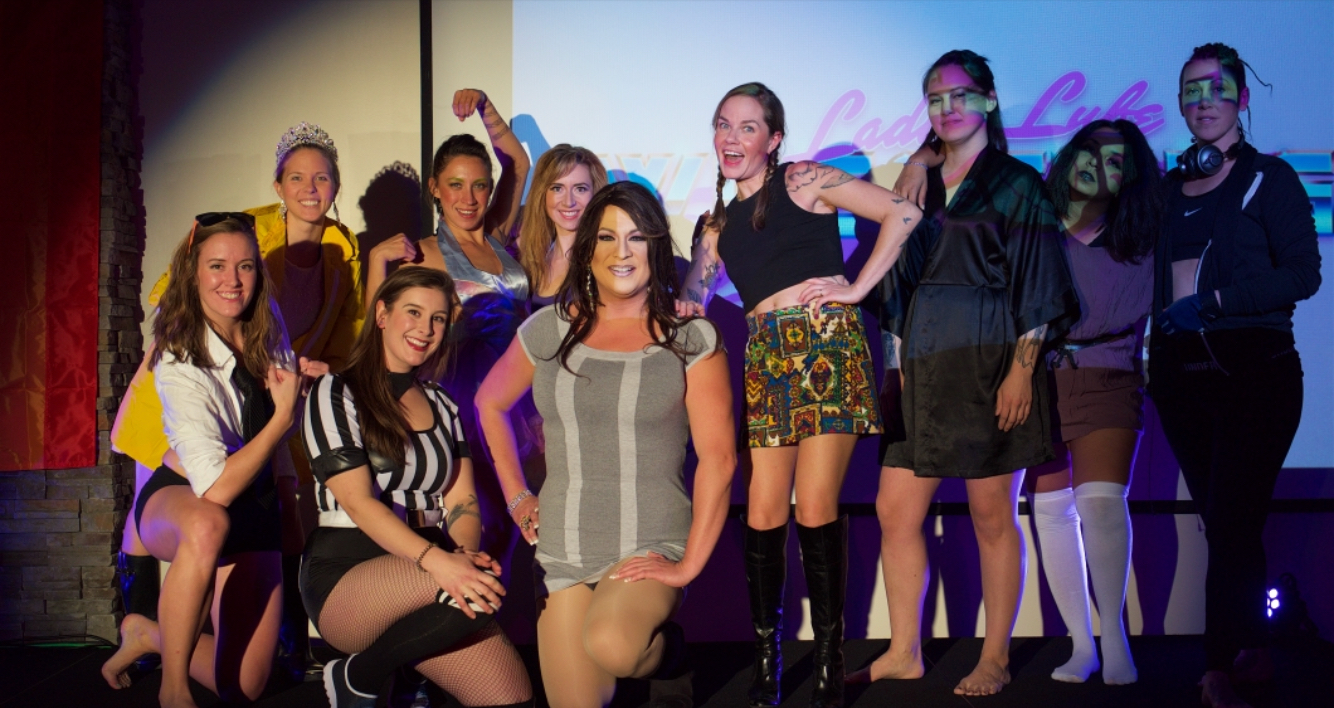 The first-ever ladies lube wrestling team.