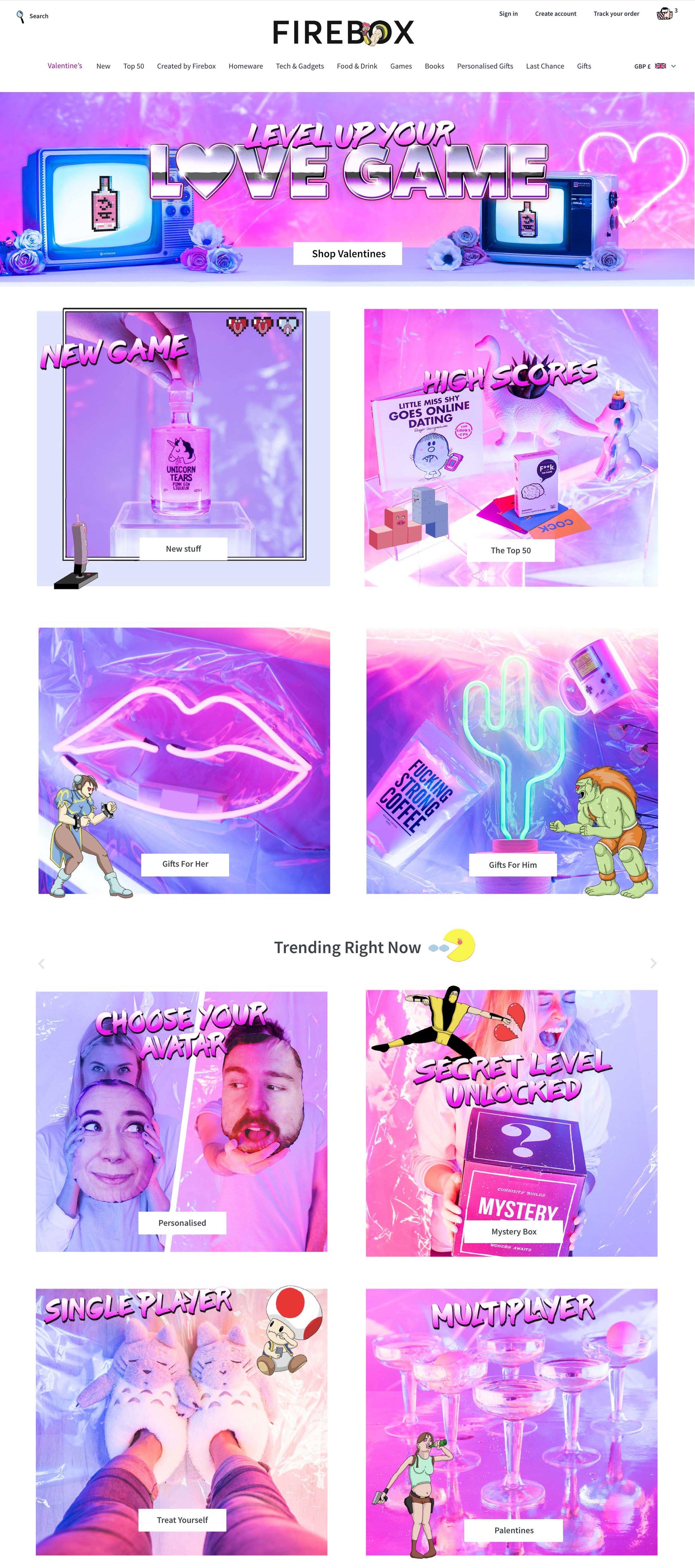 firebox_valentines_coloured lighting gels neon arcade 80s campaign