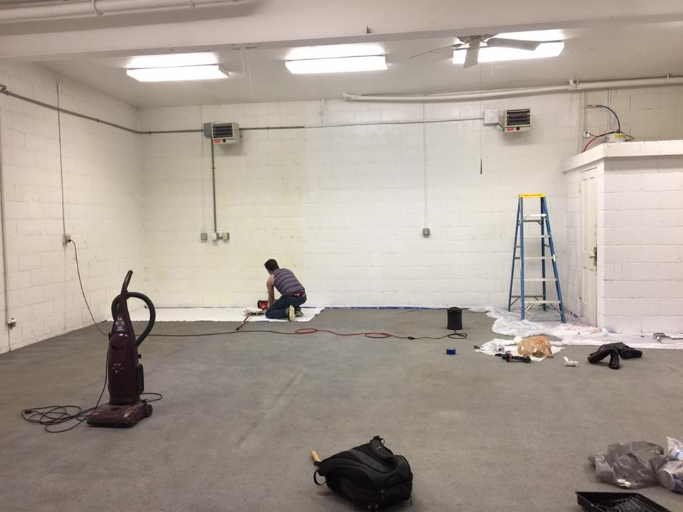 Renovating and preparing the new space for the dance floor.