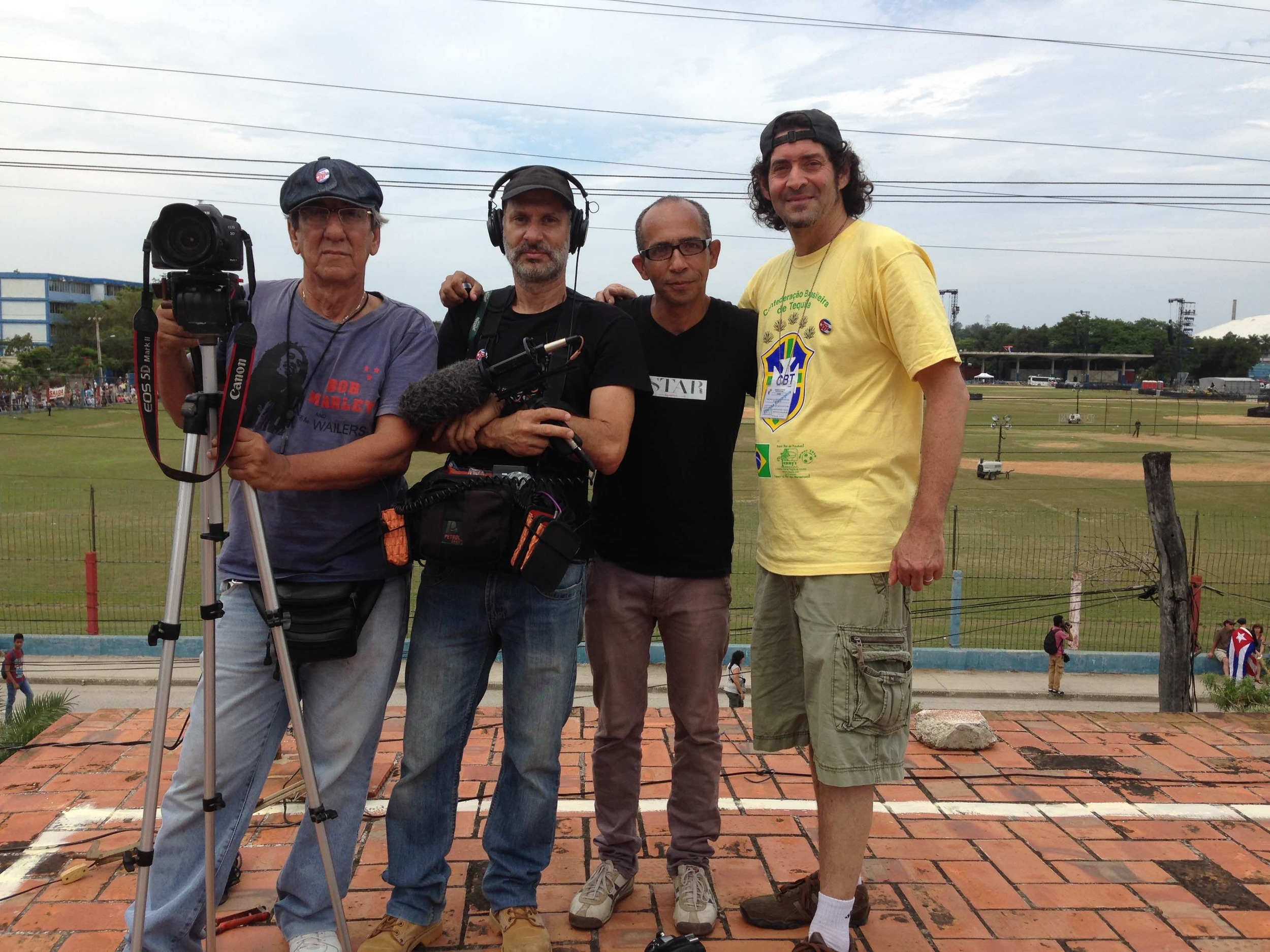 Our crew waits for the concert to begin. (L to R) Ernesto Granado, Javier Figueroa, Ivan Soca and our own Ken Schneider.