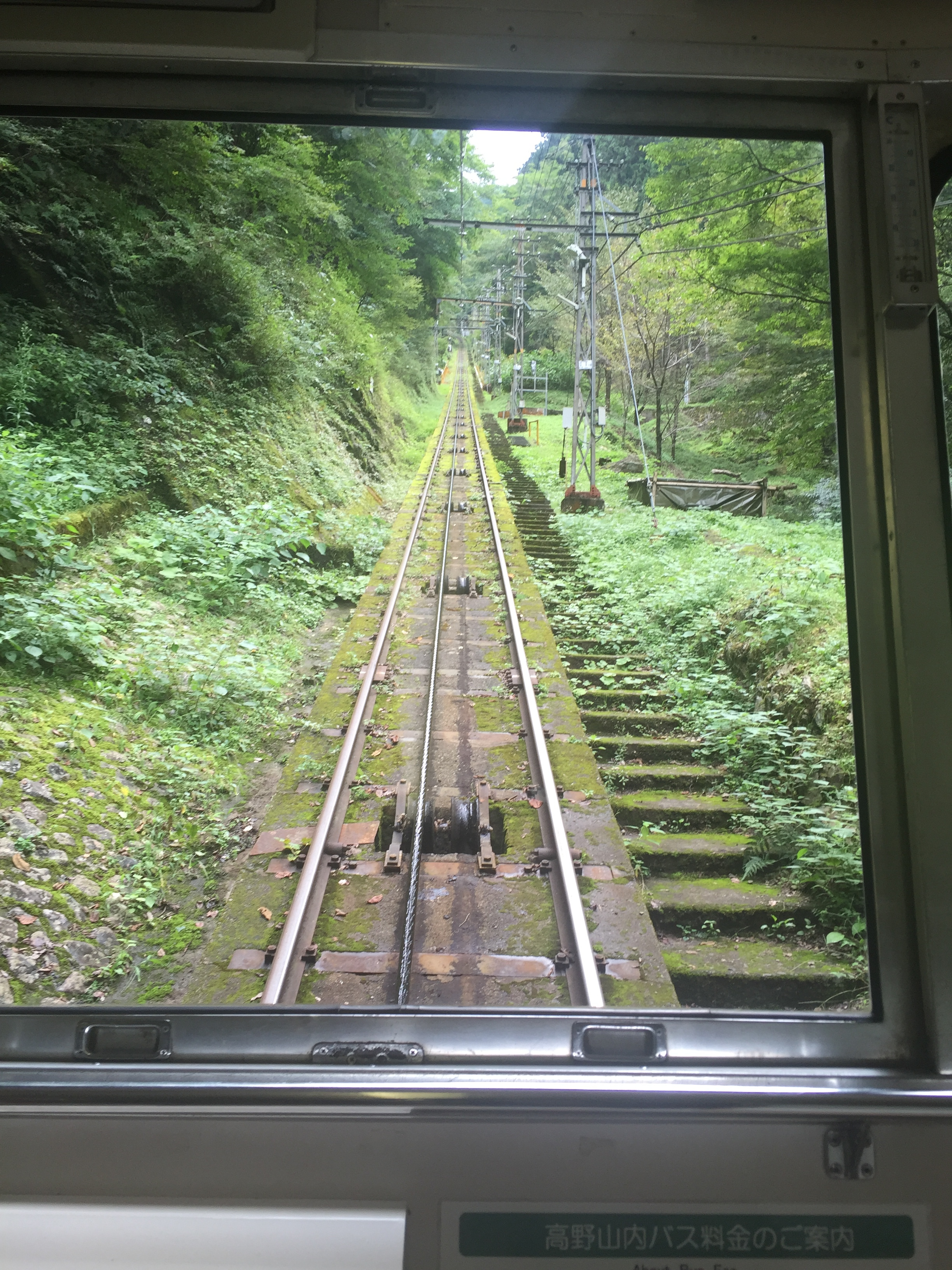 Cable Car to Koyasan in the mountains of Japan. Home of lovely places to stay w/ vegan food