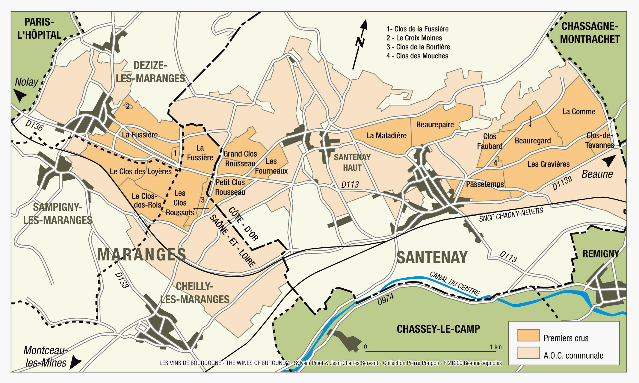 Map of Santenay Crus - check out a video of the vineyards of the Cote de Beaune  here.