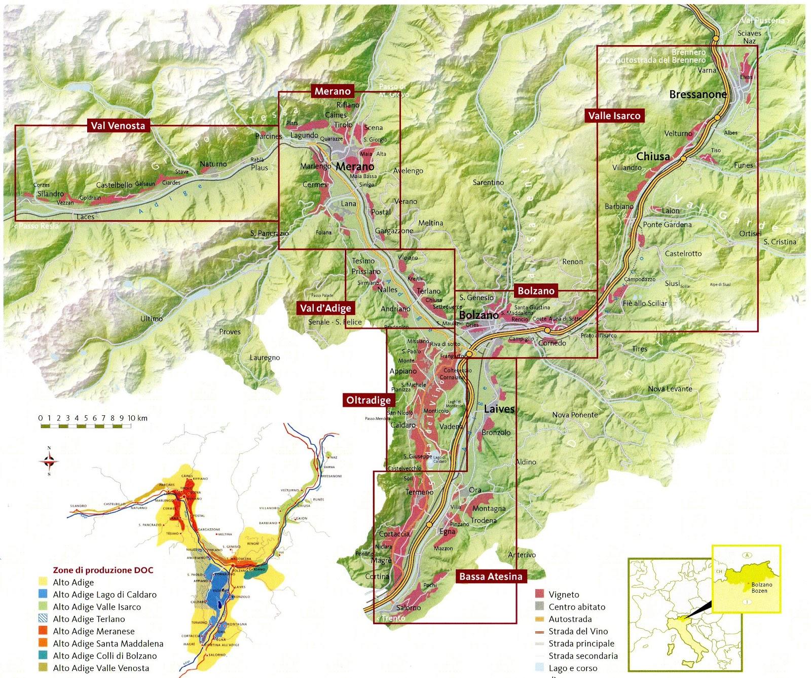 Map of Alto Adige (Sudtirol) from   Muller-Thurgau.com.
