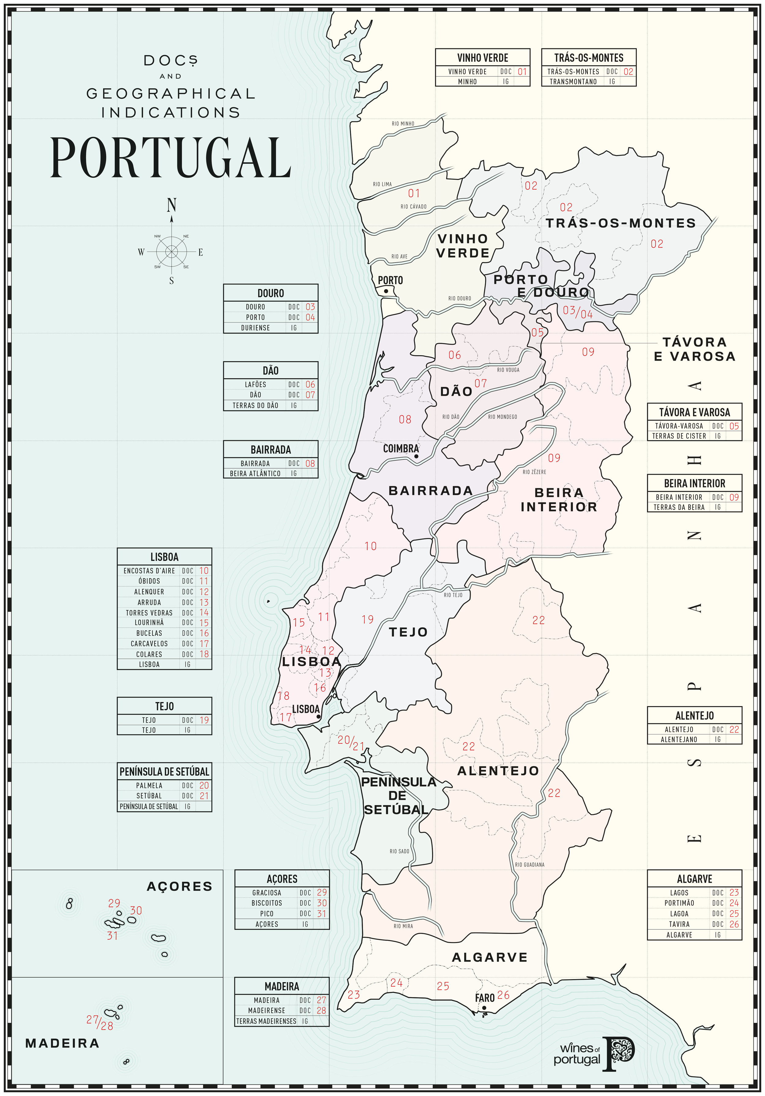 Map of Portugal, courtesy of  WinesOfPortugal.info
