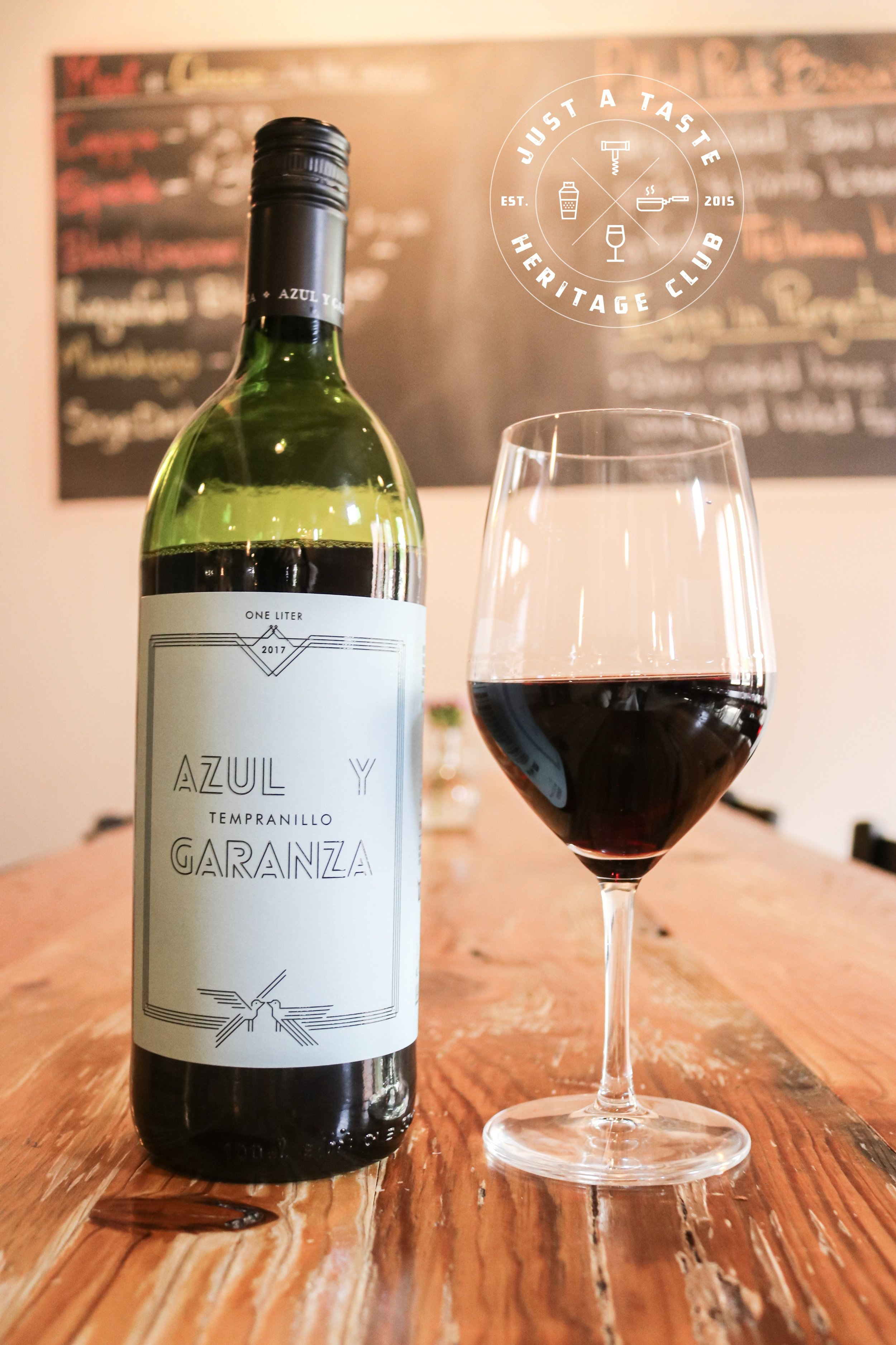 Azul Y Garanza Tempranillo from Valkyrie Selections, our featured Heritage Wine Club red at Just A Taste.