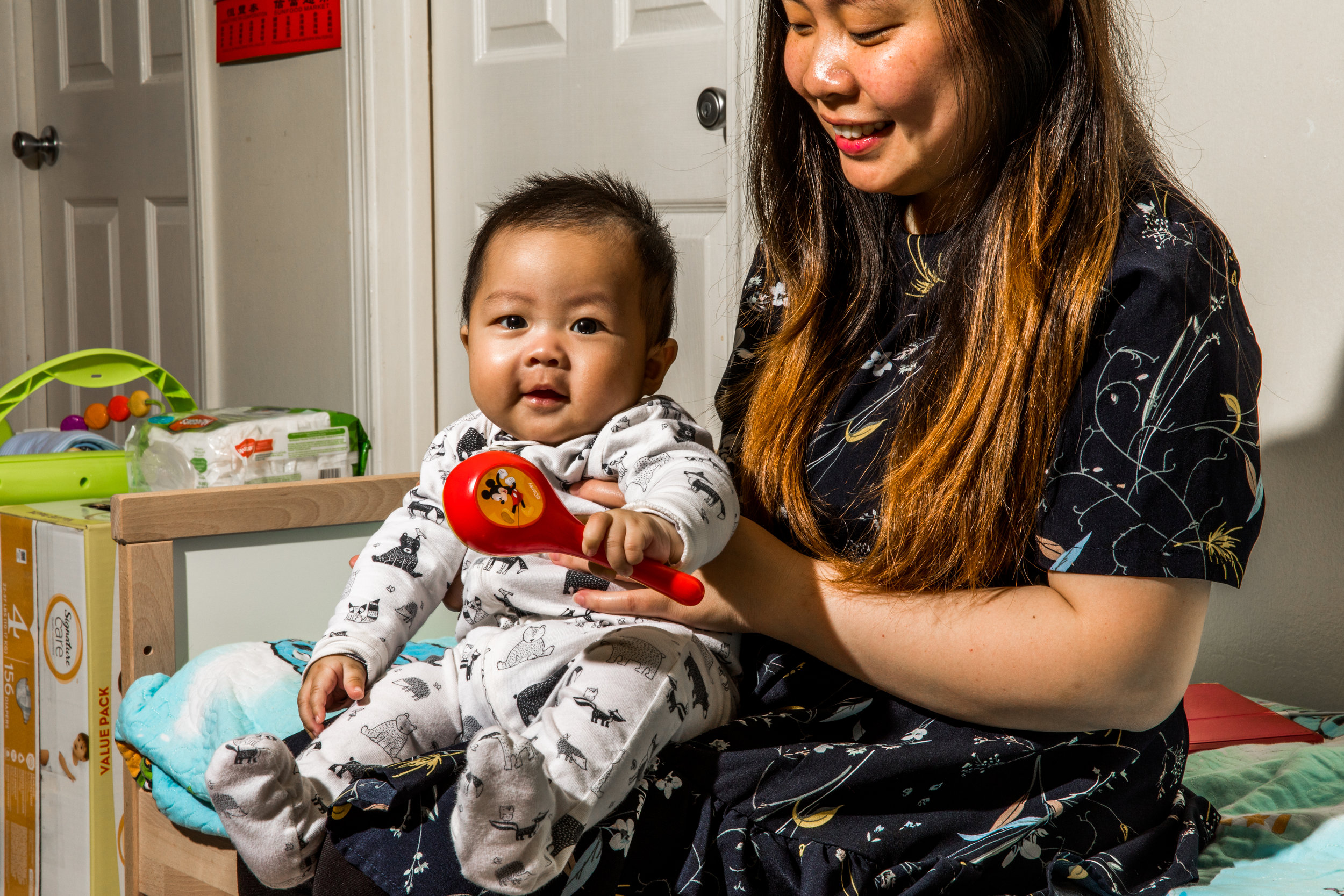 Ying has two children in diapers. Baby Daniel is 5 months old and wears a size 4 diaper. They receive diapers from Help a Mother Out and live in San Francisco.