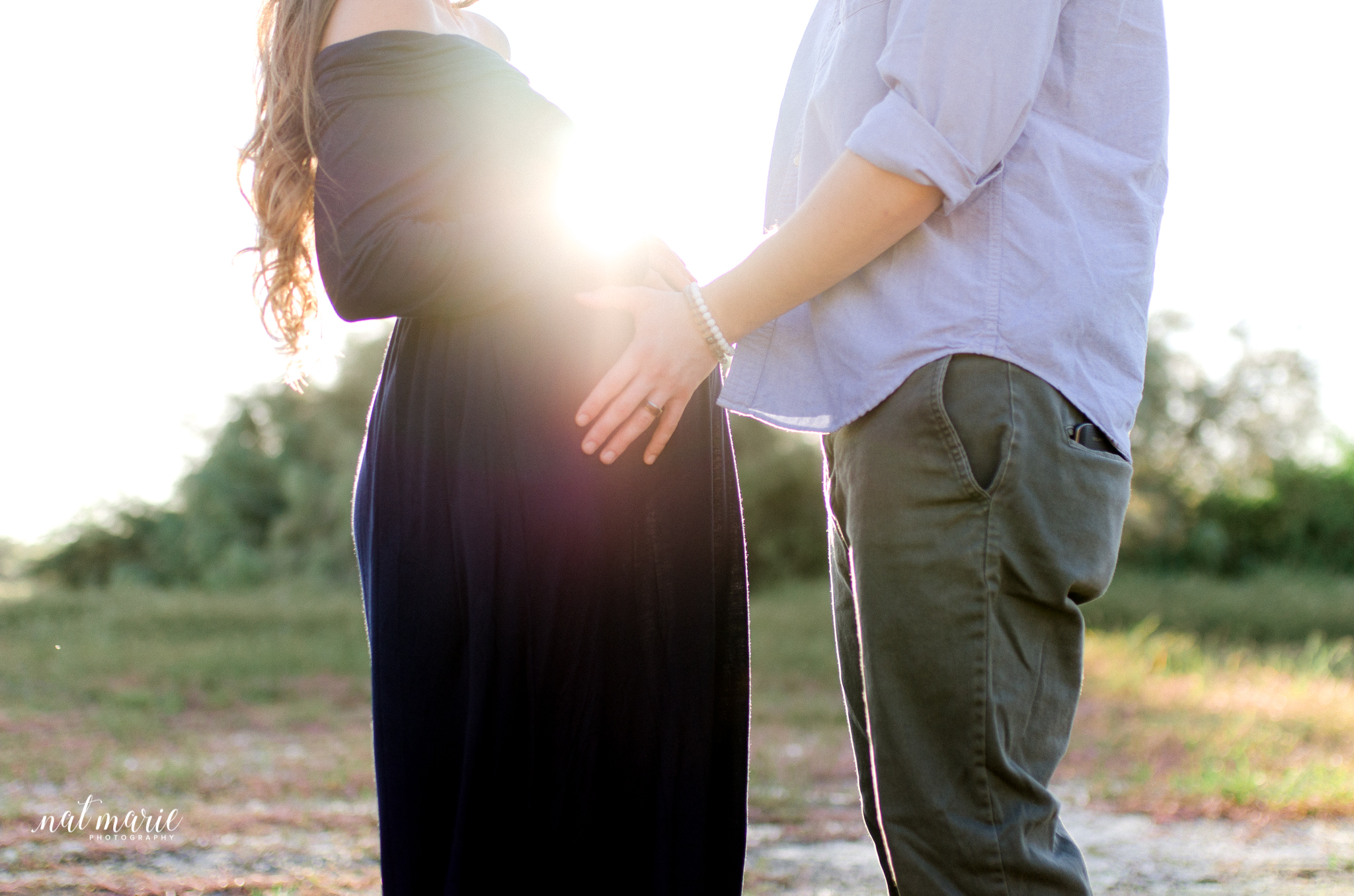 light flare with maternity session in desert