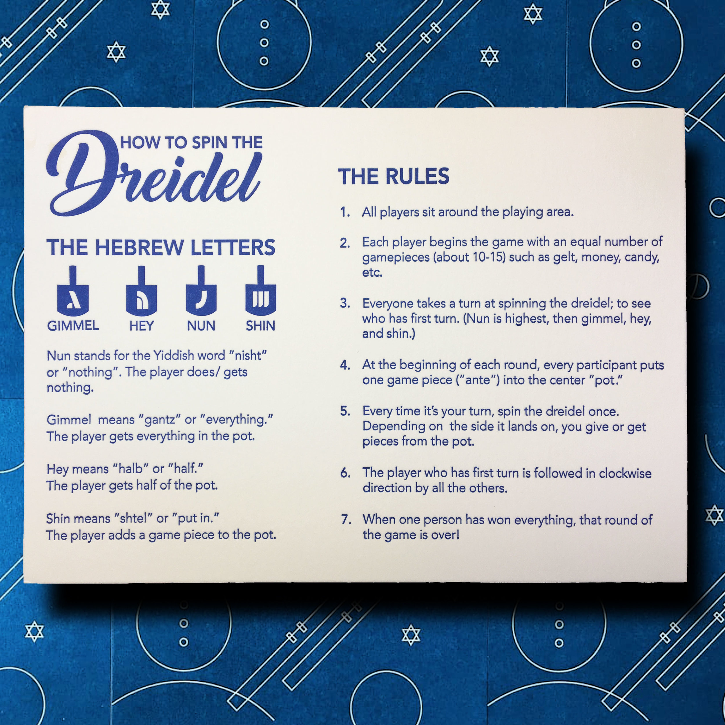 Let's not kid ourselves. Most of us have played the dreidel game only once or twice, and could use a rules refresher. So we commissioned San Francisco-based artist Leah Jachimowicz, owner of Coffee n Cream Press, to create a custom letterpress dreidel rules reference card for you.