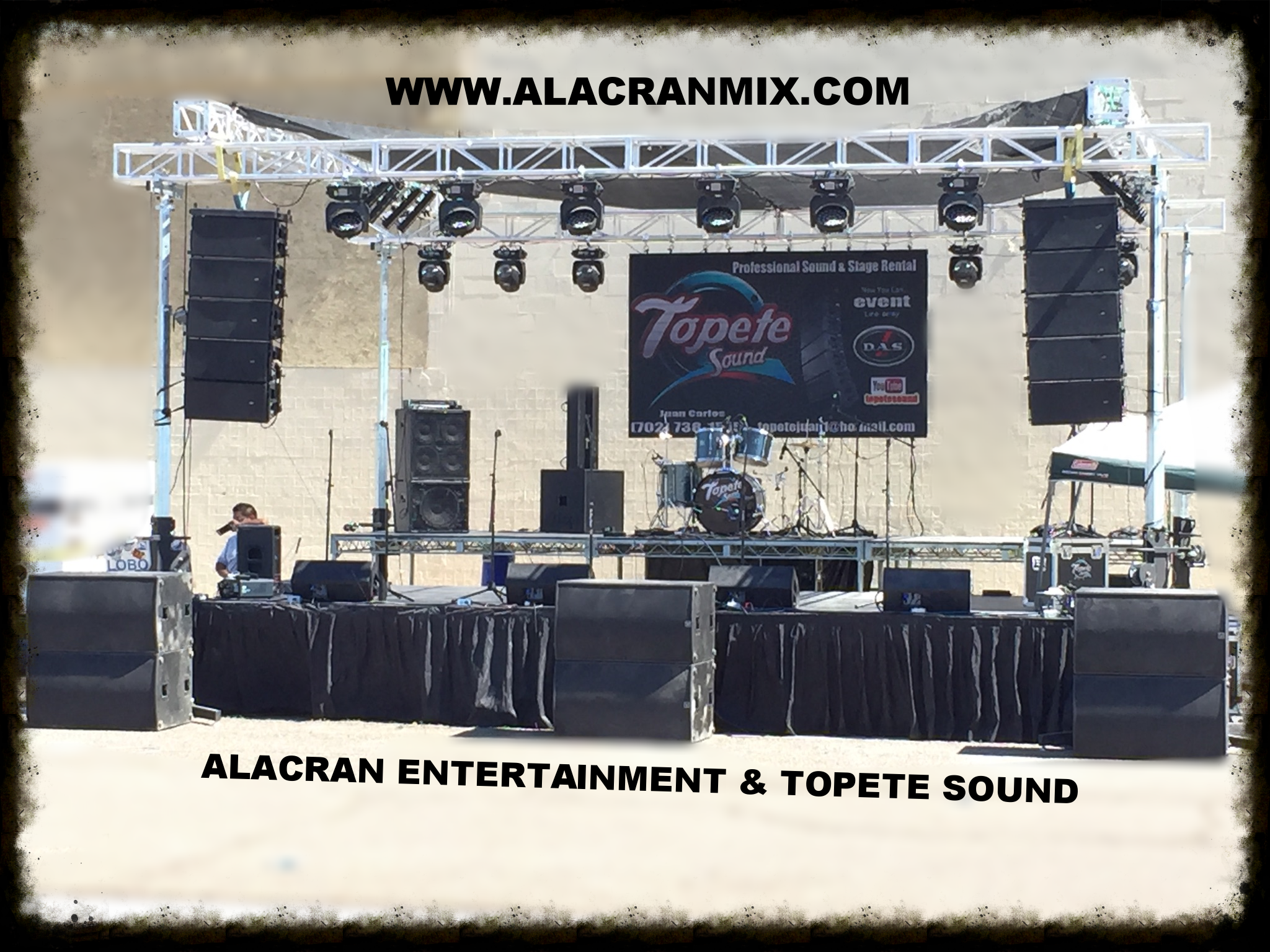 WE RENT CONCERT EQUIPMENT   Planning a massive event? We have you covered, We have D.A.S linearray audio with bass Speakers and 16 digital mixer, monitors and lighting. Lets do this!