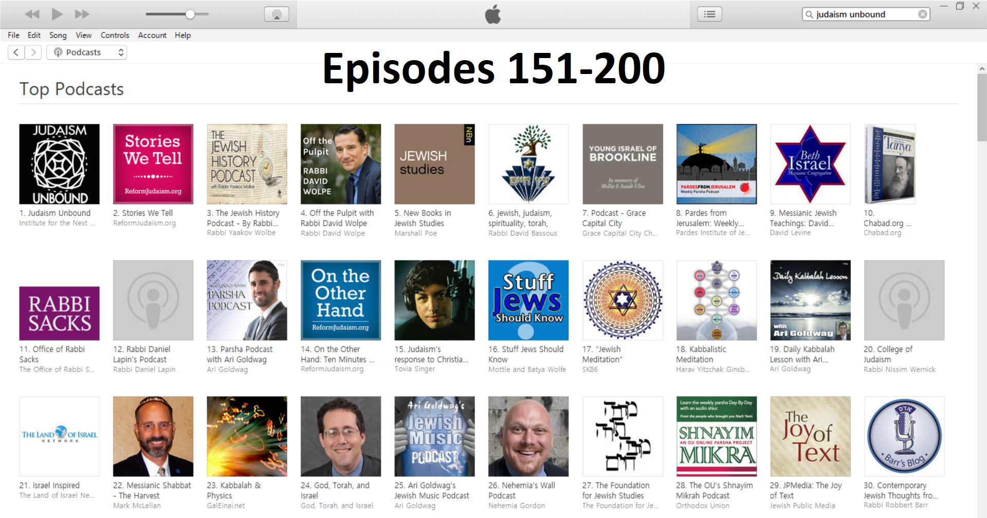 Click the image above to access Episodes 151-200 of Judaism Unbound!