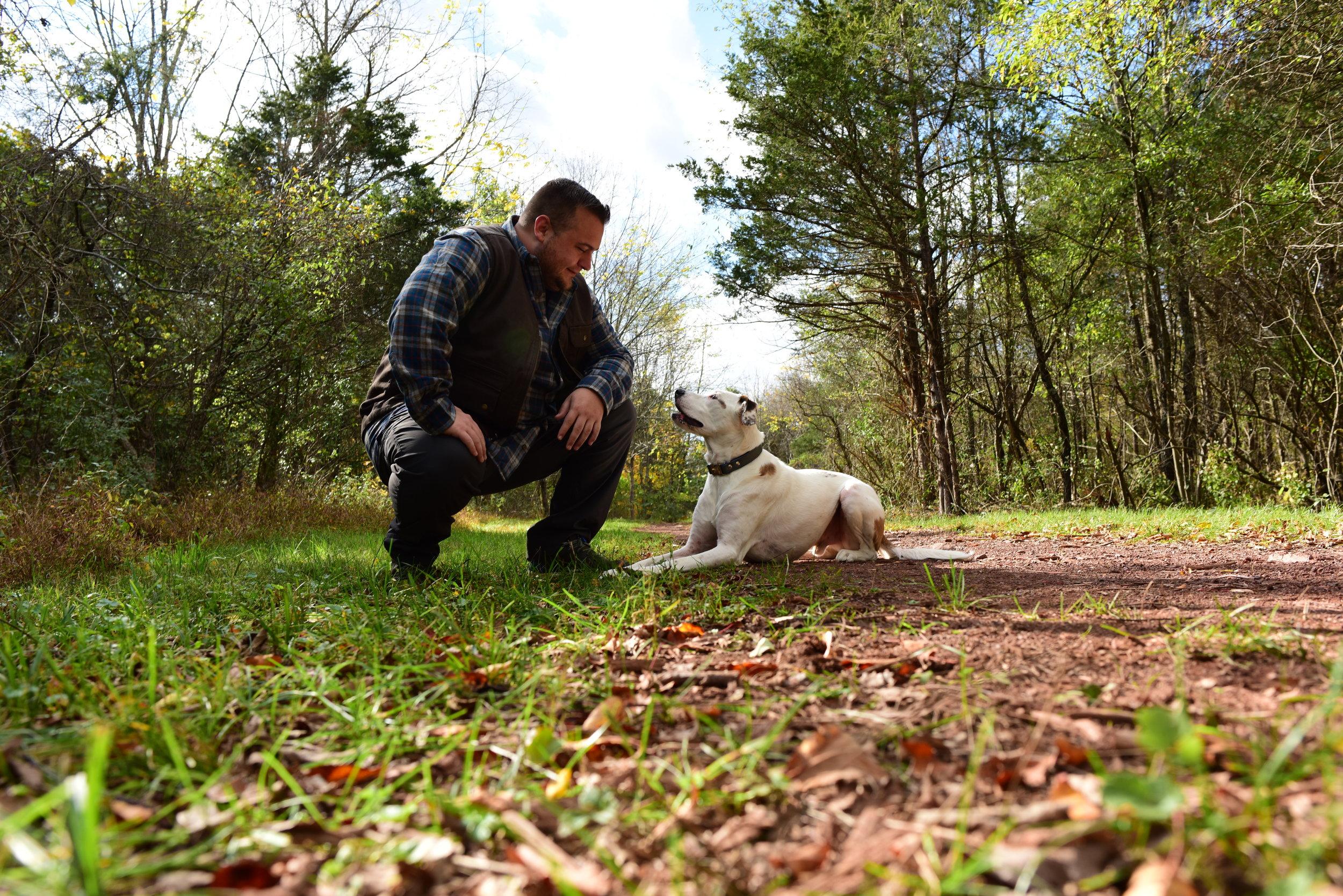 Sammy and I on a stroll through the park.