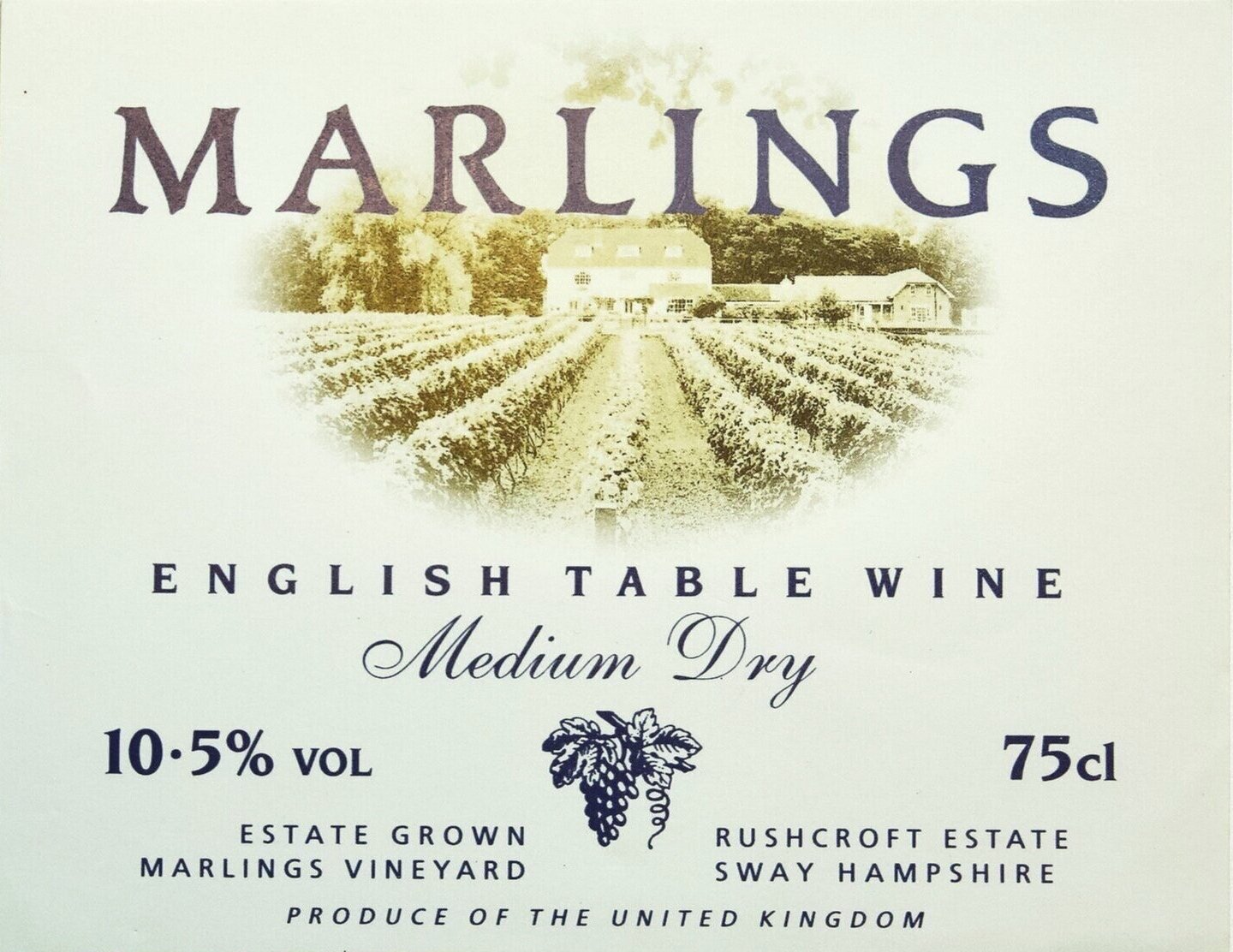 The original Marlings English Table Wine label