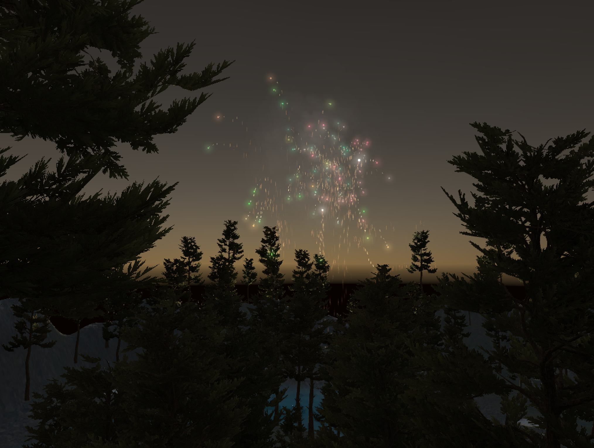 A fireworks celebration at the end of the level!    In-game screenshot
