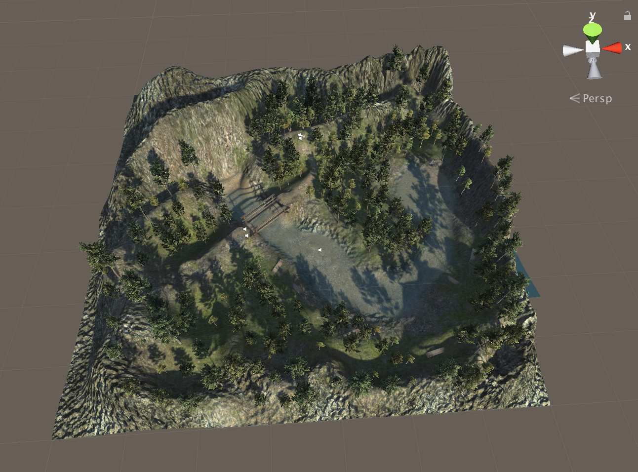 Overview of the whole level and terrain. Screenshot taken from the Unity Editor viewport.