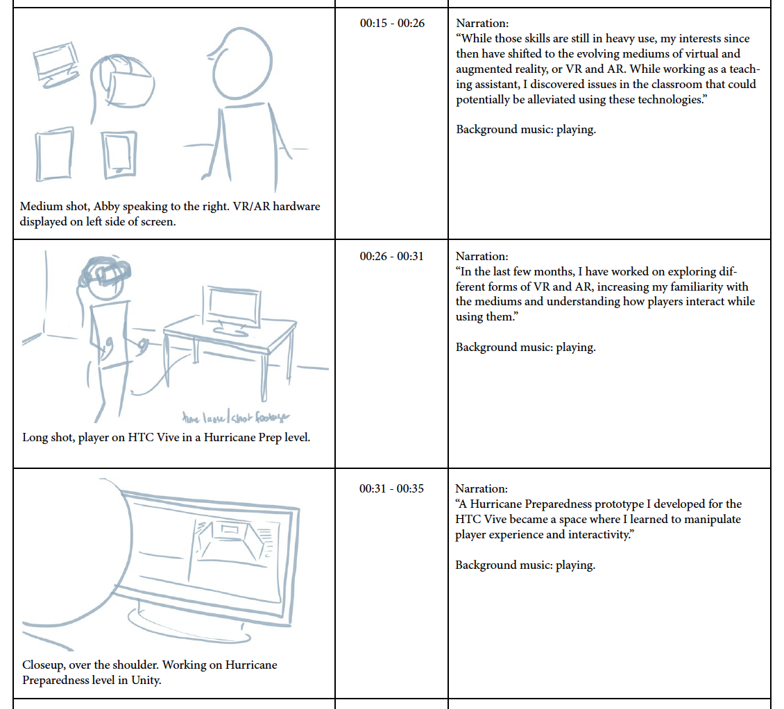 Final storyboard template, with timing and narration.