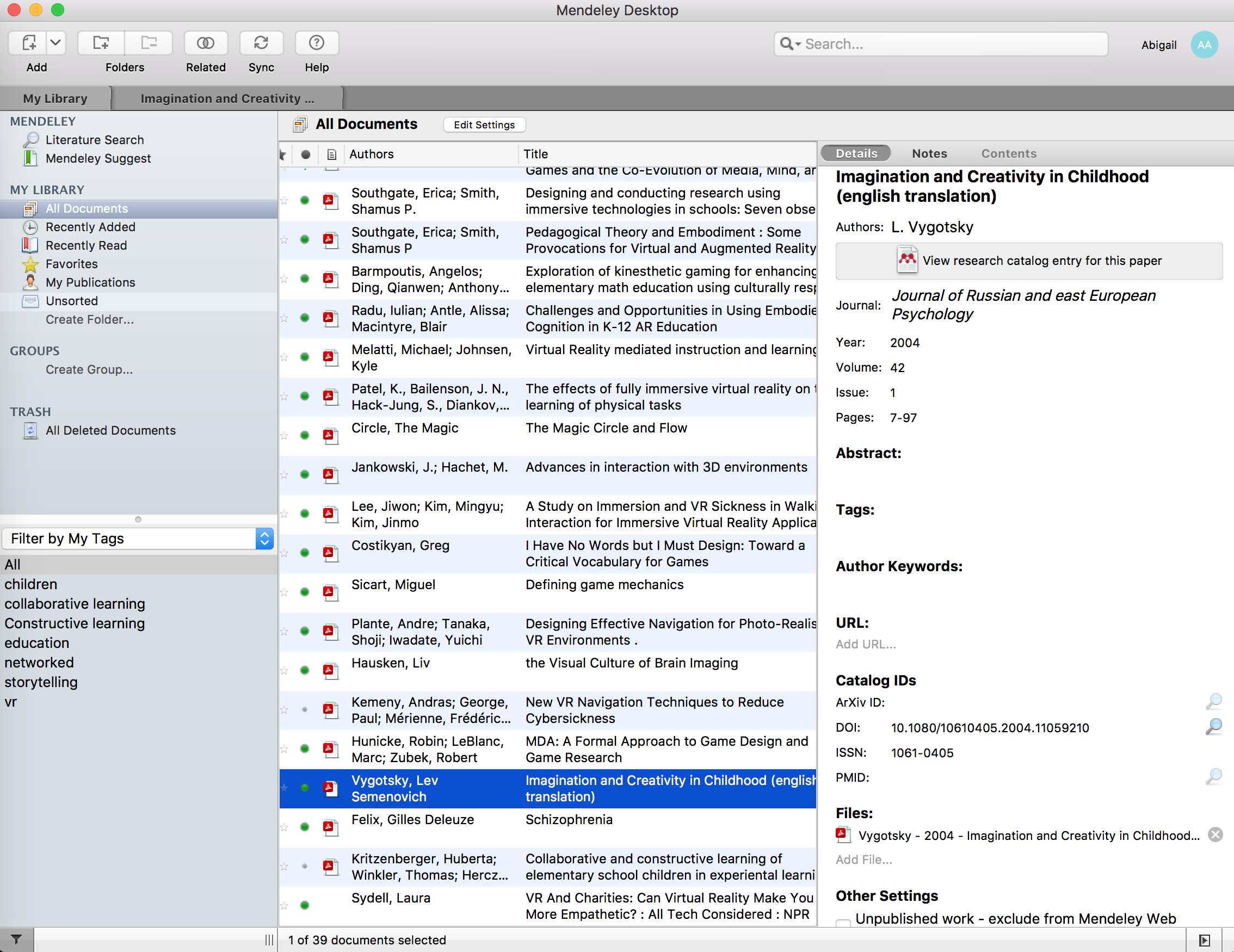 Screenshot of my current Mendeley setup, with readings uploaded.