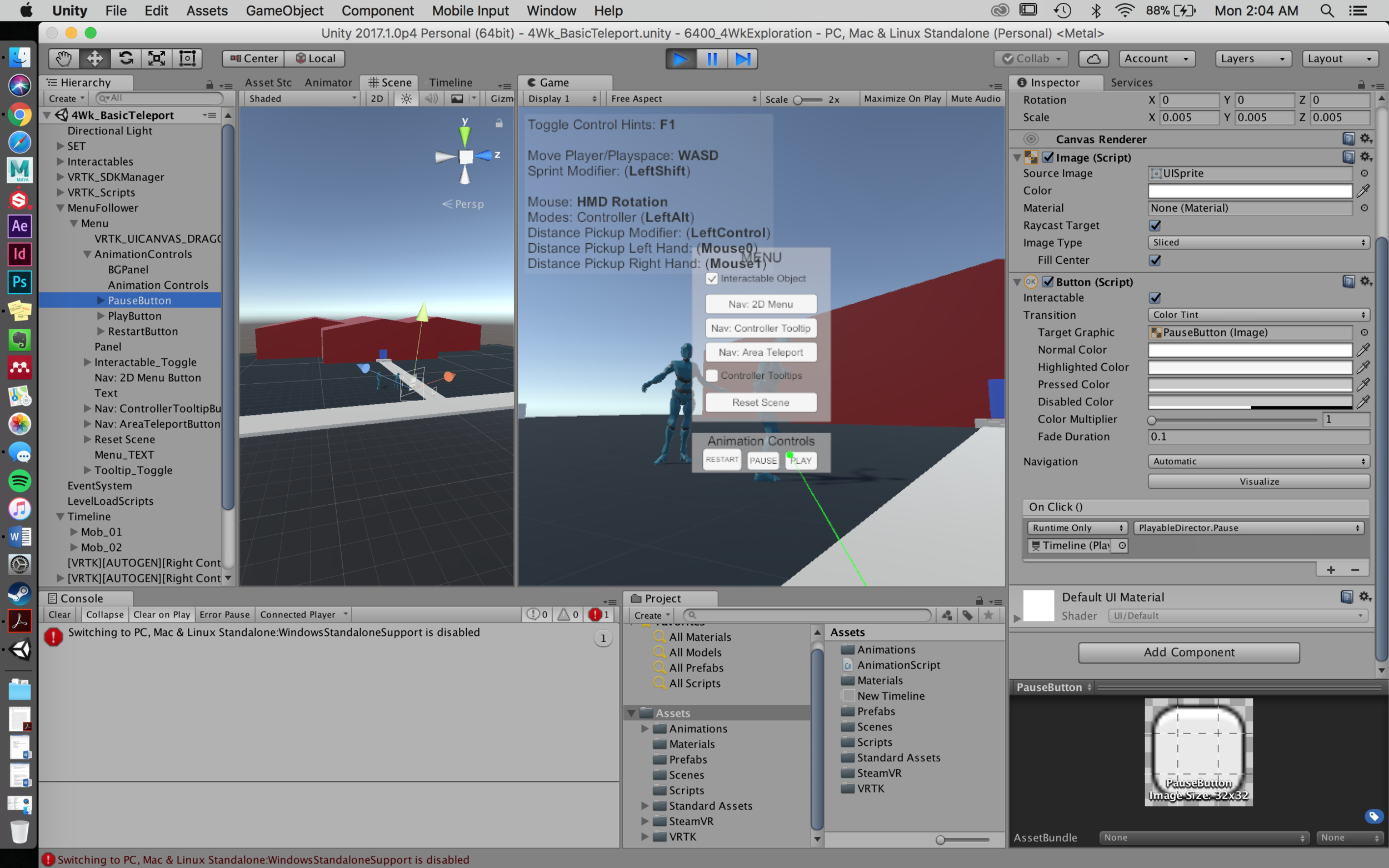 Unity screenshot: Active game with Pause button pulled up in the Inspector, showing the button function using the Playable Director.