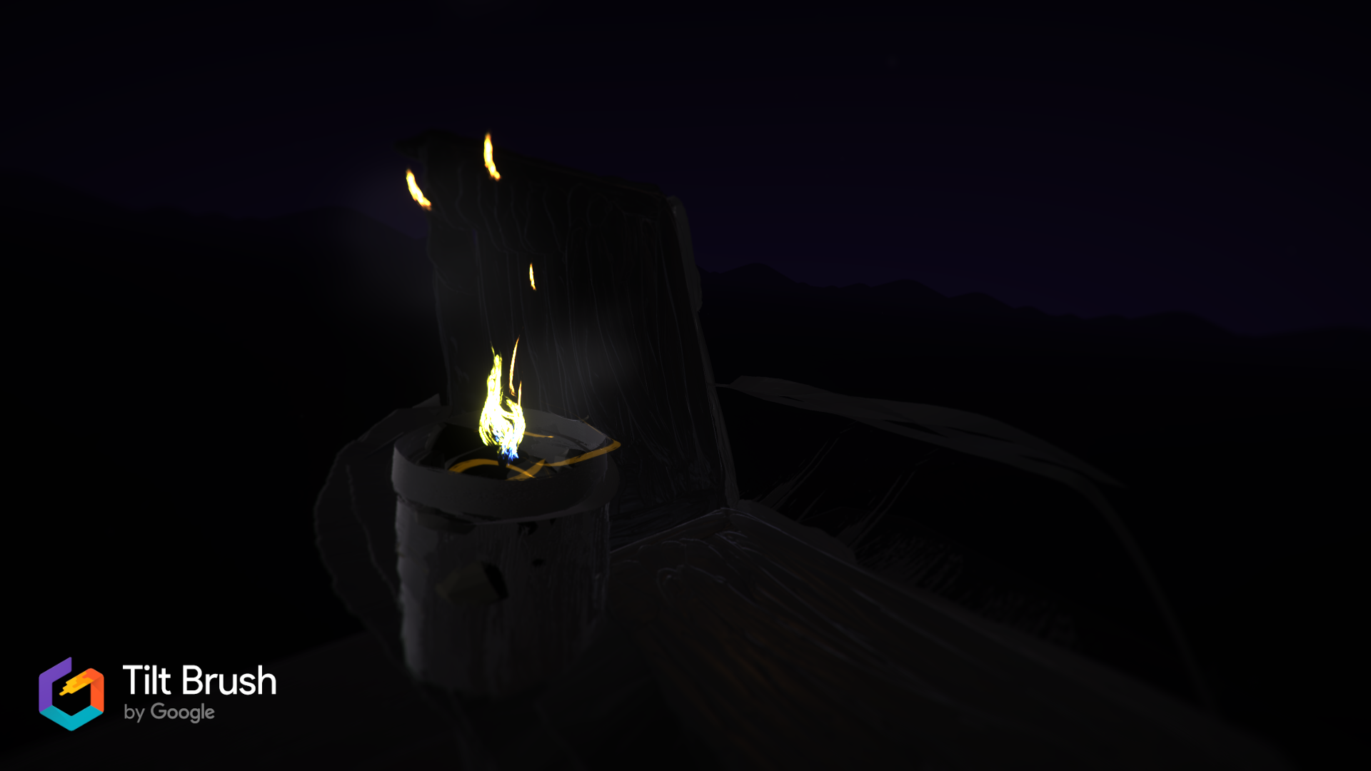 Painting in Tilt Brush of a candle sitting on the arm of a chair.