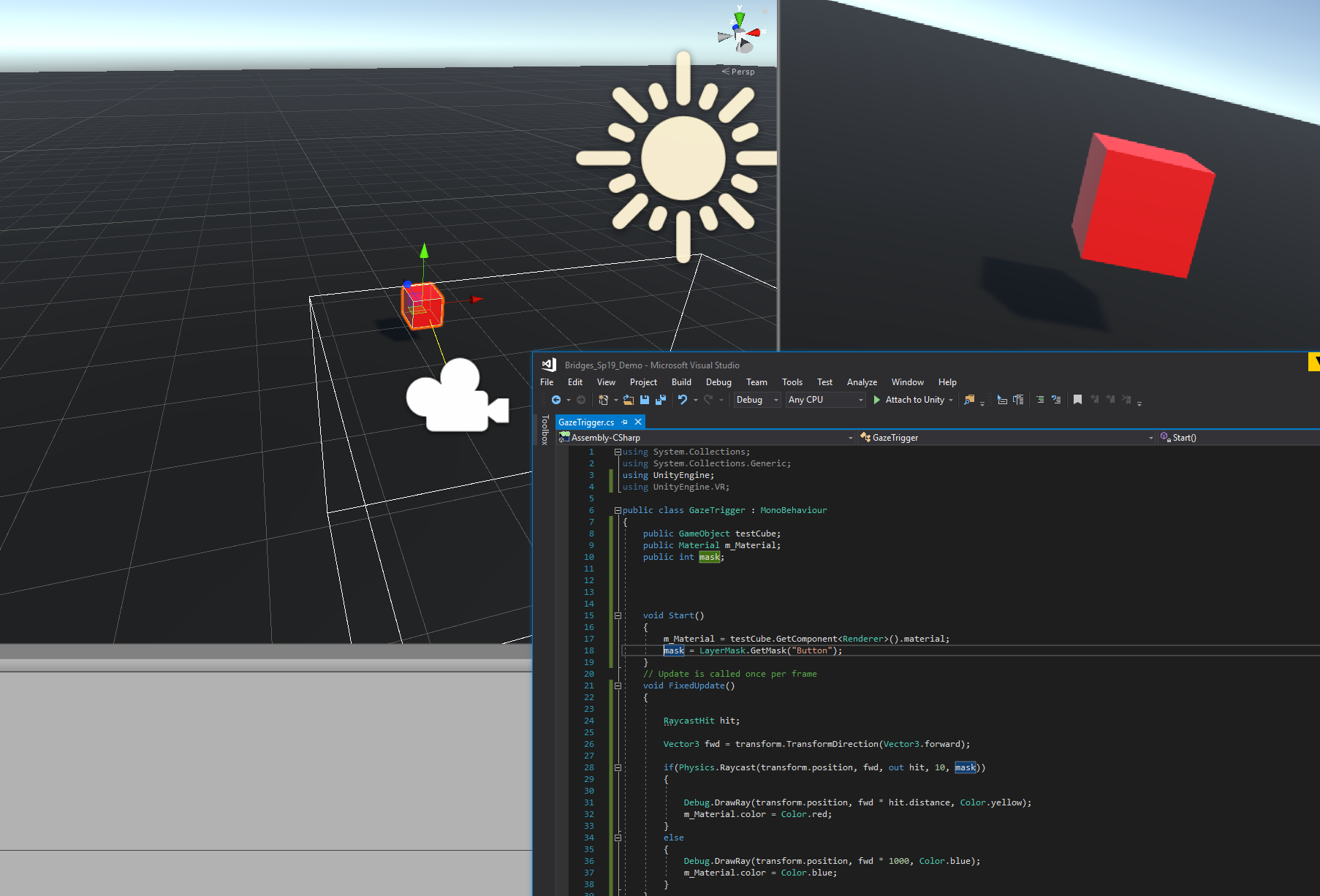Successful raycast test, with fixed script shown.
