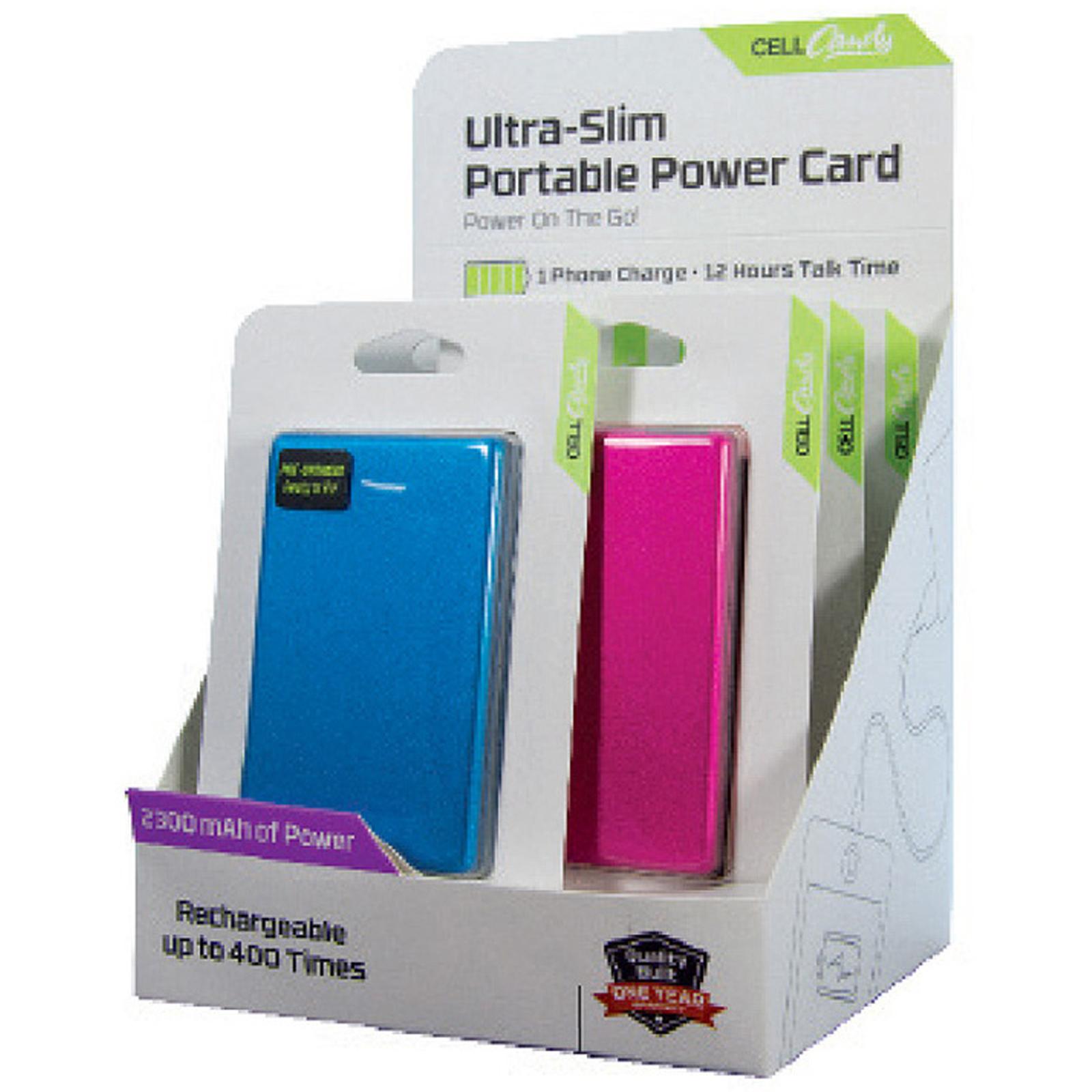 6 Piece, 2300mAh Slim Credit Card Power Banks Filled Counter Display