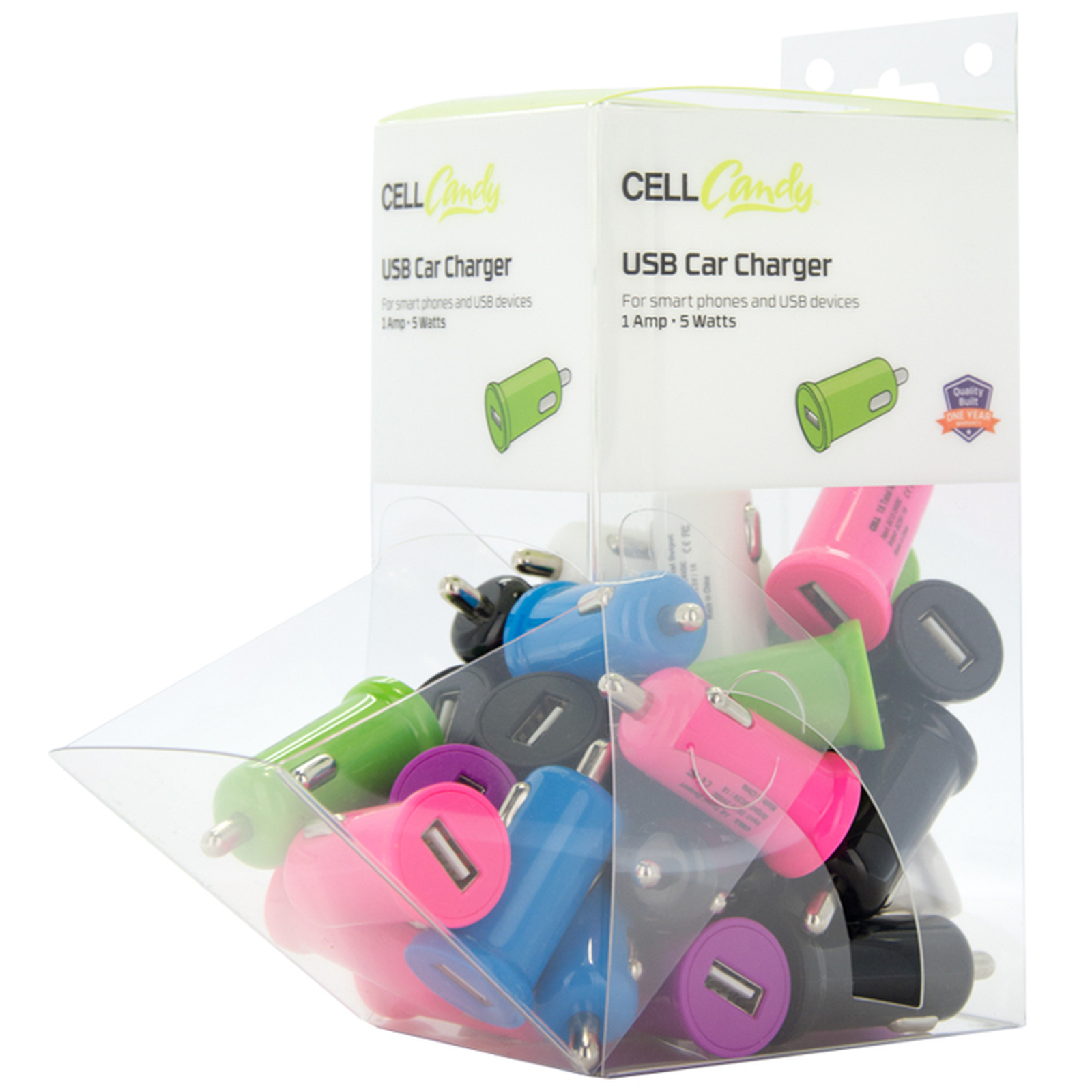 30 piece 1 Amp (5watt) USB Car Charger Bin