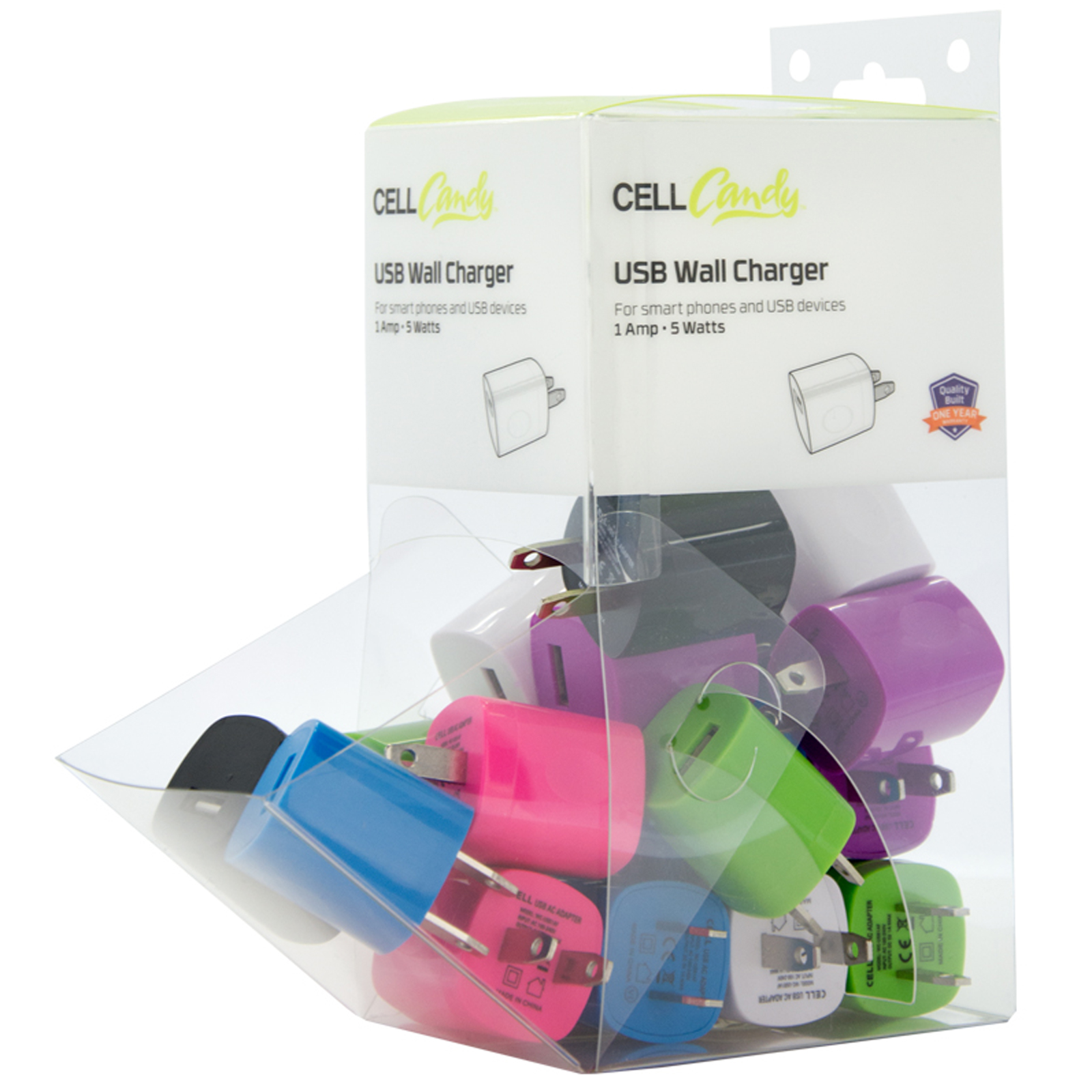 20 piece 1 Amp (5watt) USB Wall Charger Bin