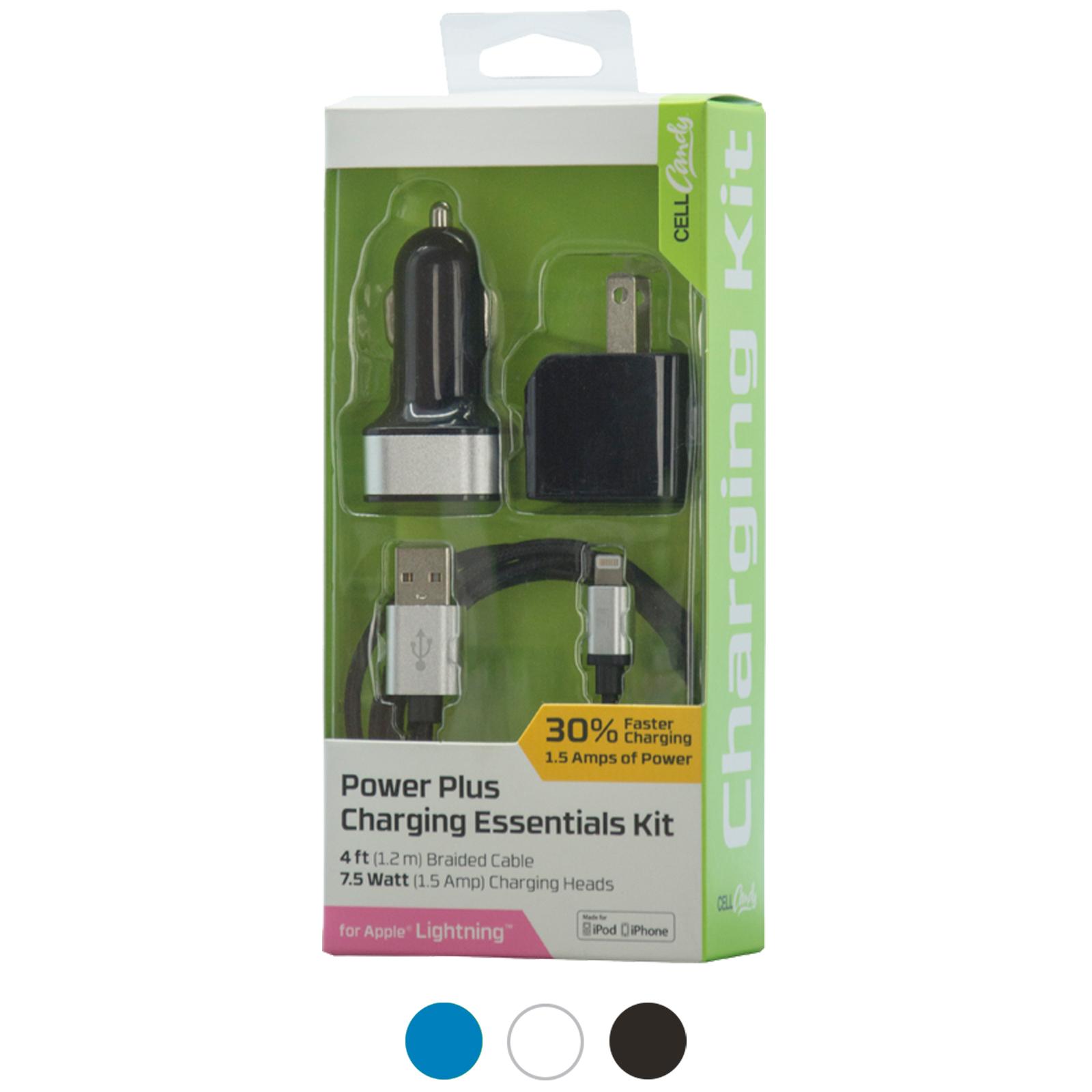 3 Piece Apple 8Pin MFI High Power Charging Essentials Kit