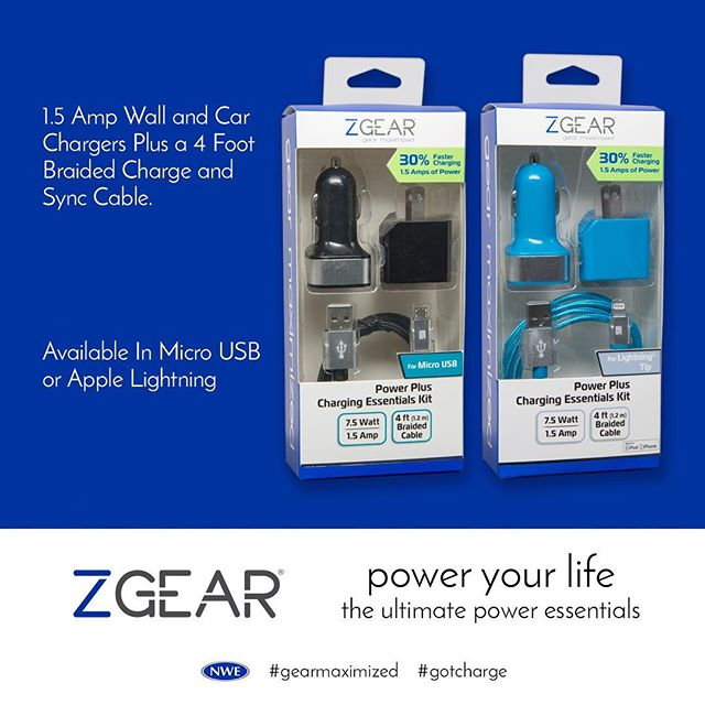 Ensure that your device is ready for action with the #ZGEAR 3-piece charging kit