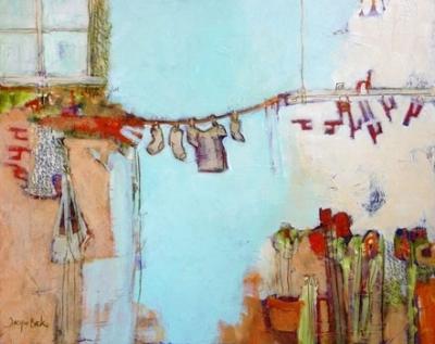 """""""Decorating the Ordinary"""" 16x20; acrylic & mixed media"""