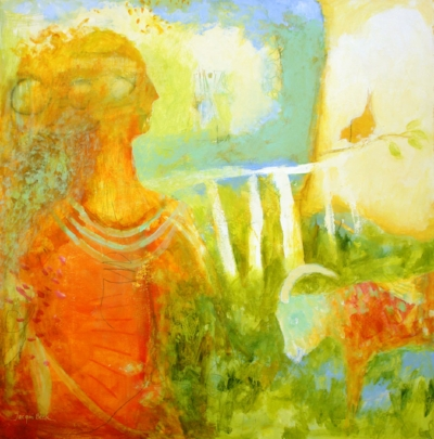"Contemplation with Goat  30""x30"""