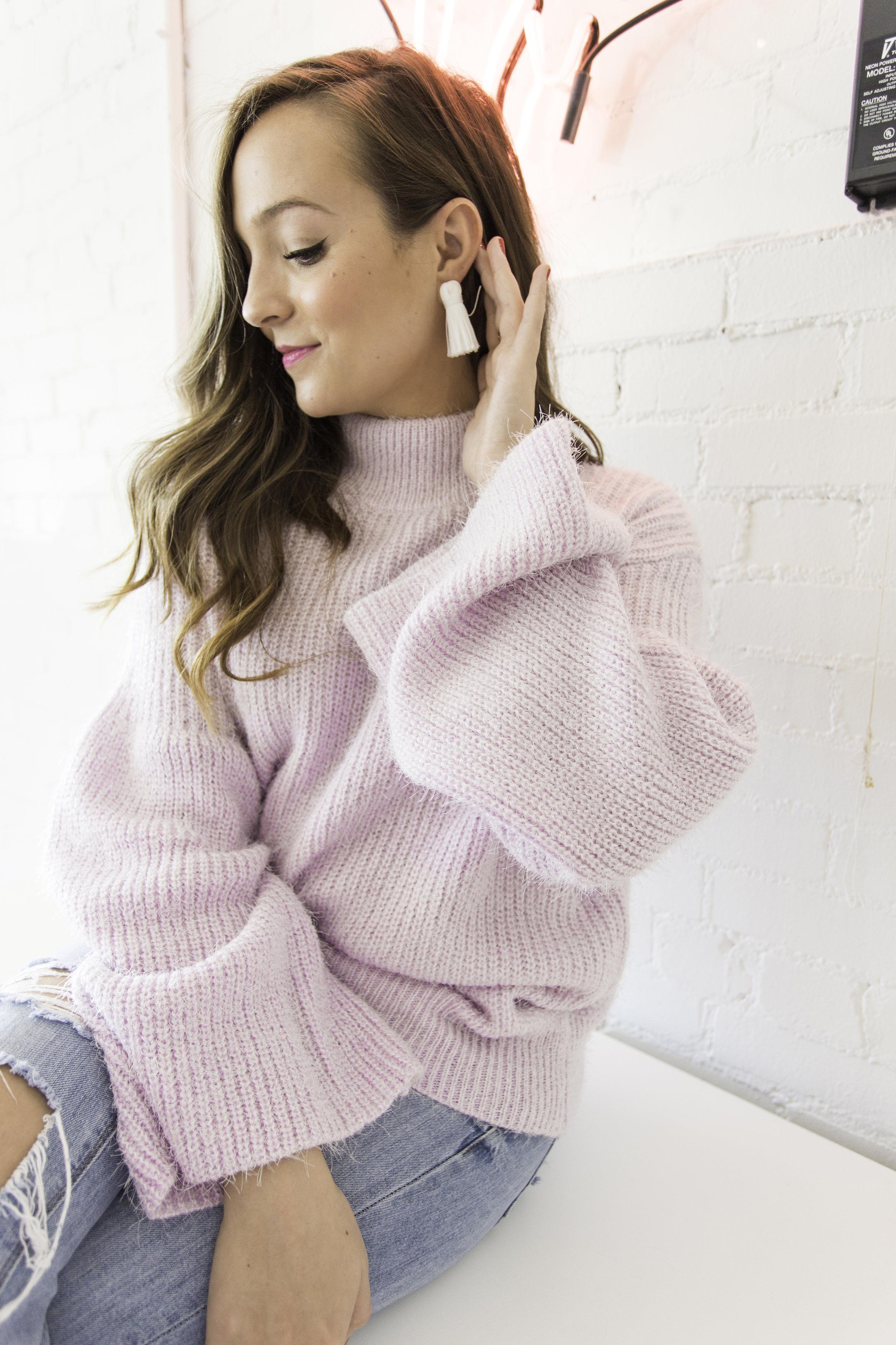 Pink High-neck sweater + Tassel earrings