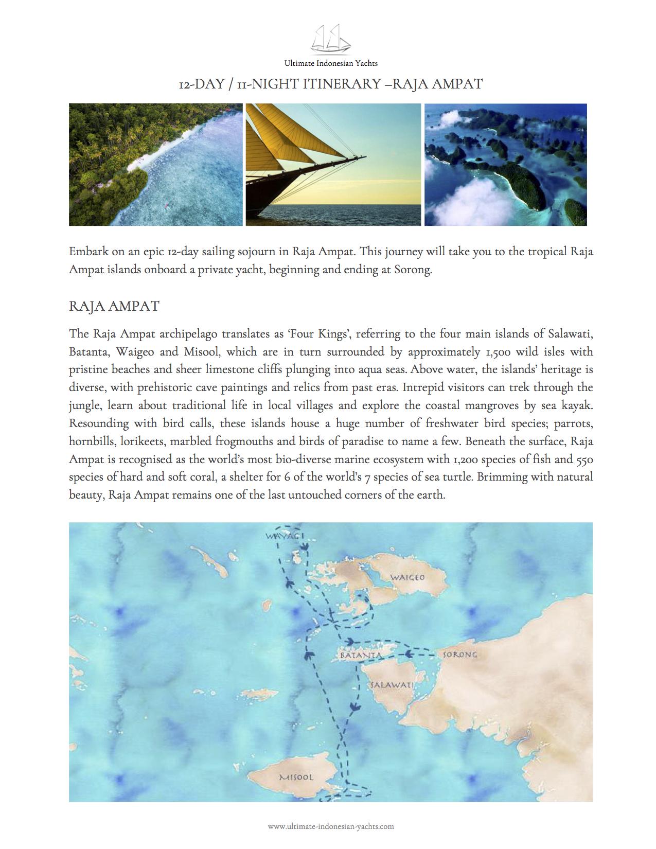 Пример маршрута яхтенного круиза в Индонезии