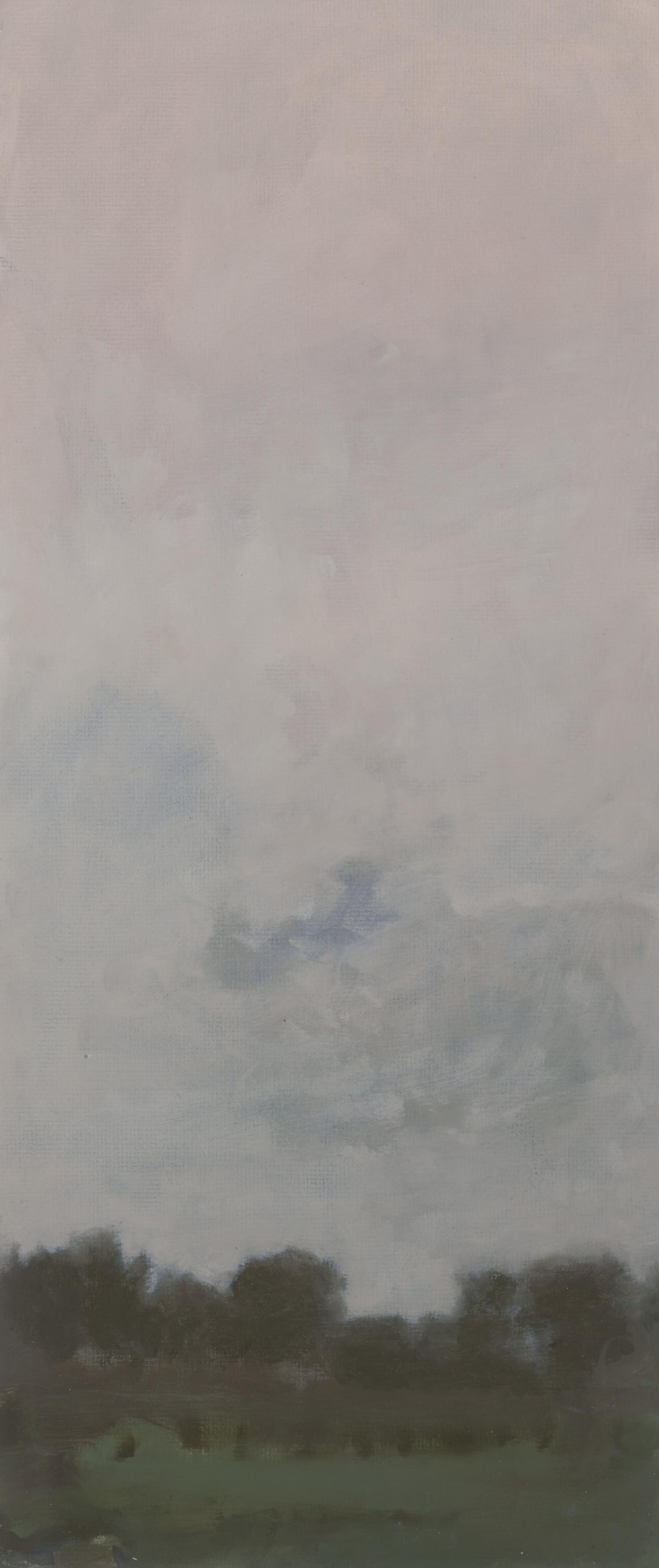 GREG WOOD  Oakridge,   2016  oil on matt board, framed  67.4 x 28.6 cm SOLD