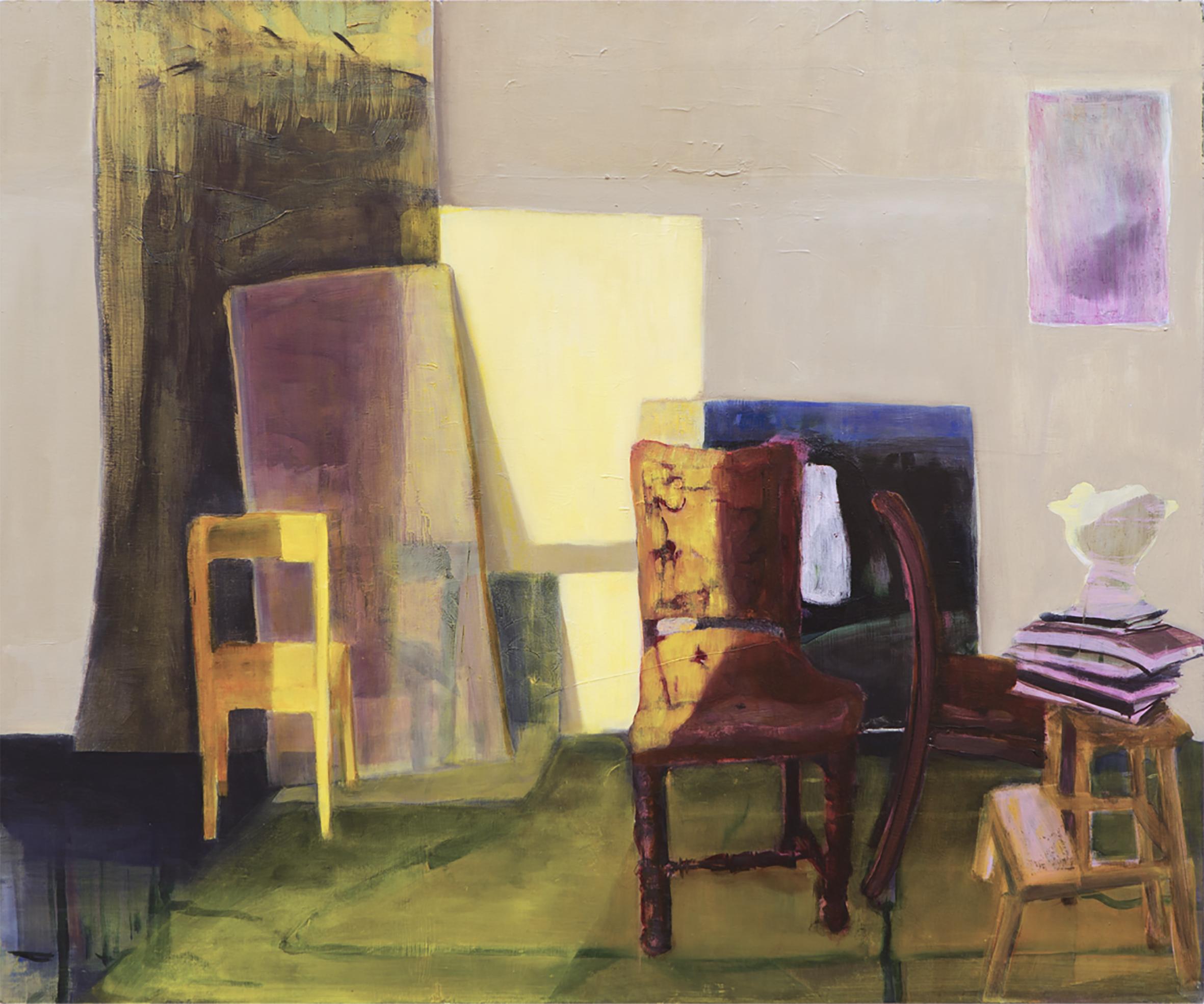 ANGELA CHAUVIN  Lux Seating, Kyneton , 2018 oil on Wood . 40 x 50 cm