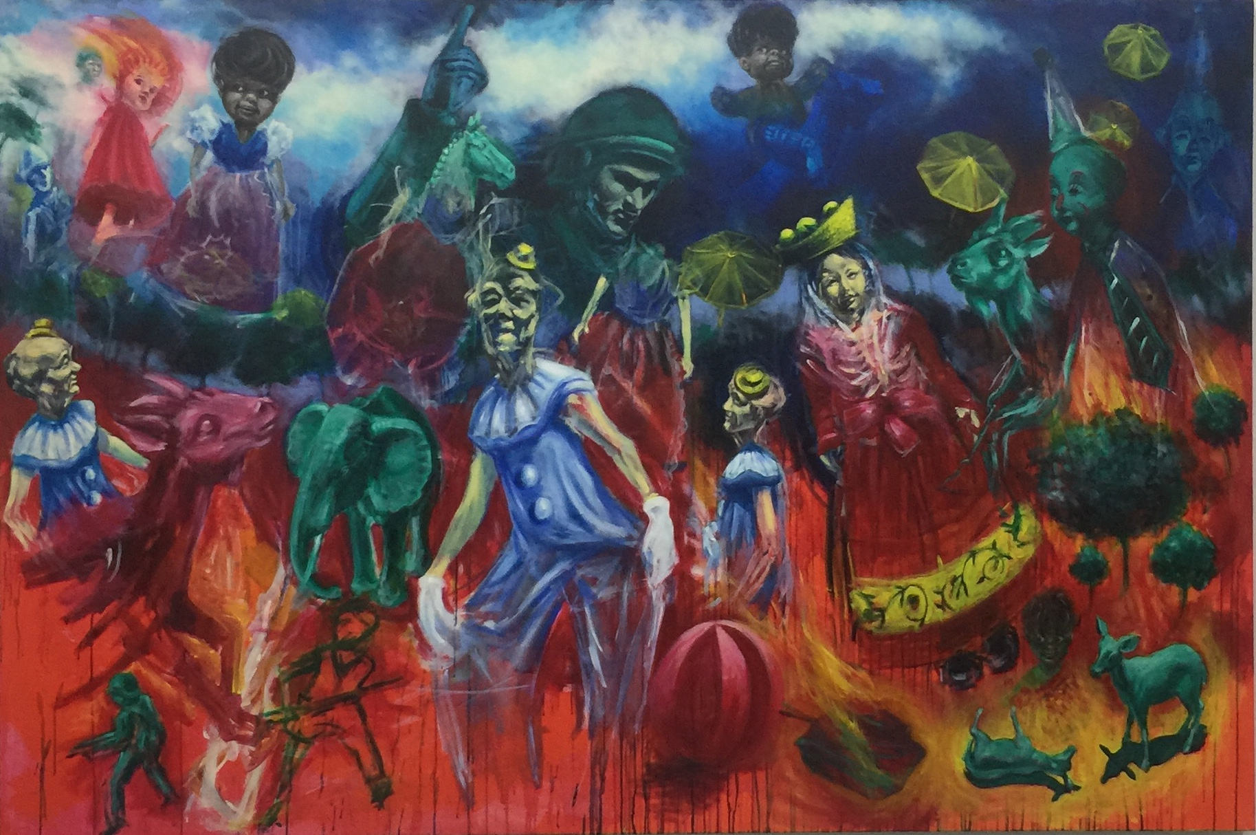 MARTIN HODGE  Cogito ergo sum , 2018 acrylic on canvas . 160 x 240 cm