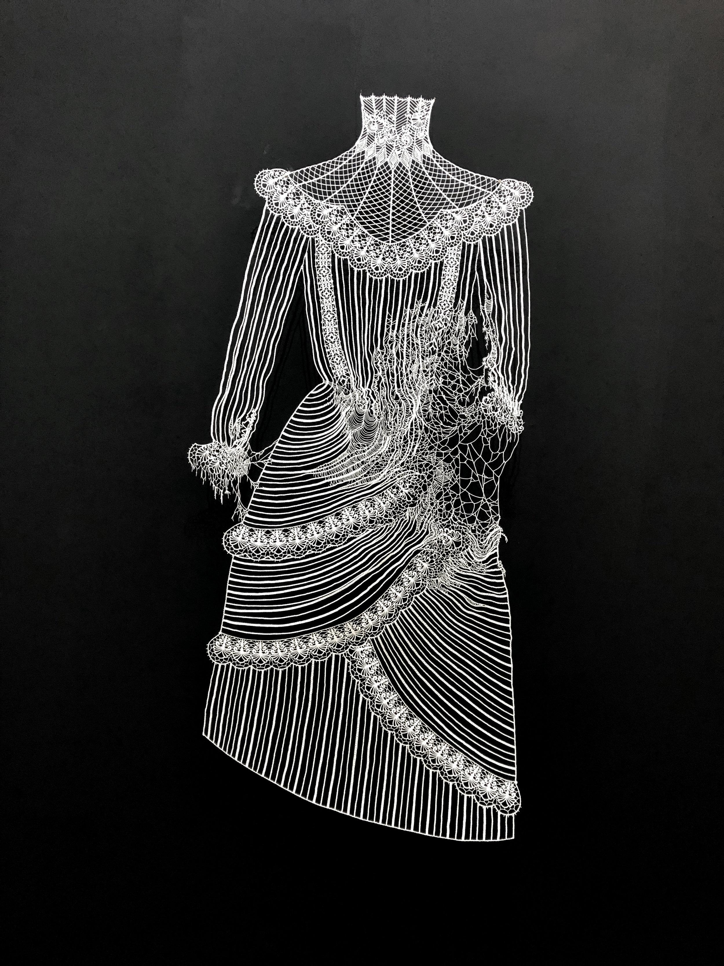 AKIKO NAGINO  Armed Dress (detail) , 2019 hand cut paper . 150 x 70 cm
