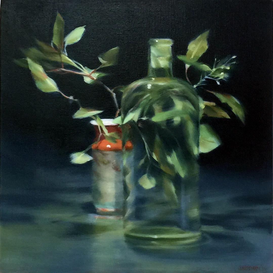 HILARY JACKMAN    Leaves with a Chinese Pot , 2019 oil on linen 46 x 46 cm