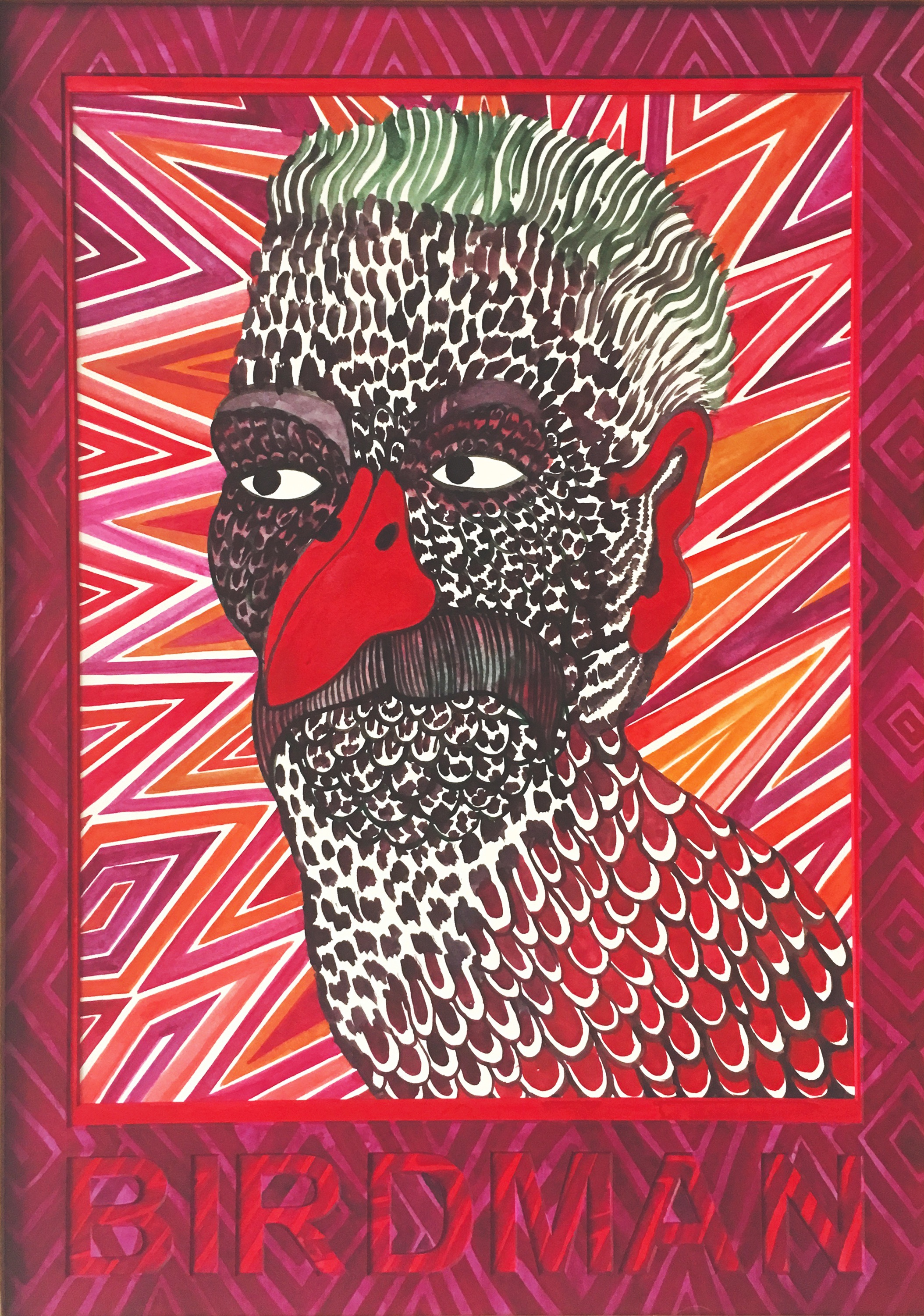 CECILIA FOGELBERG  BIRDMAN (magenta/red) , 2019 gouache and watercolour on 100% cotton rag board, framed 61 x 43 cm