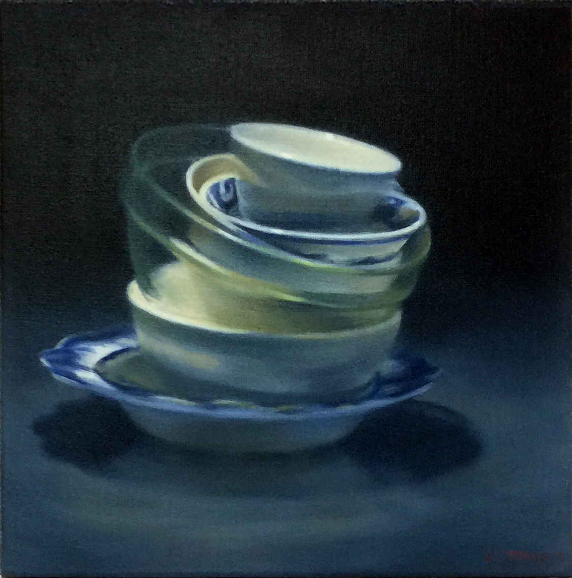 HILARY JACKMAN    Five bowls and a dish , 2019  oil on linen41 x 41 cm