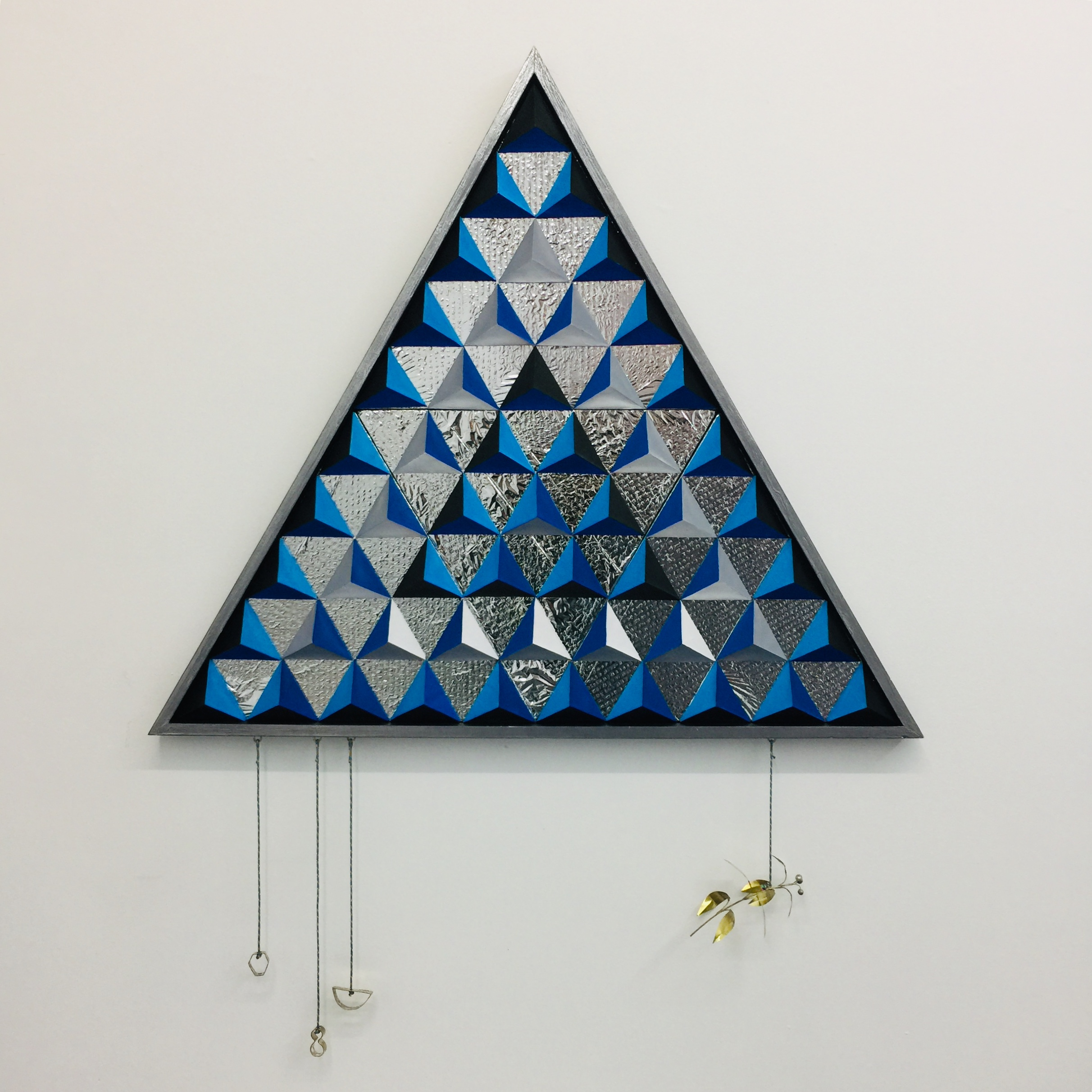 ANDY HUTSON  Think Like a Mountain,  2019 Paper, card, Tri-wall, timber, plywood, survival blanket, acrylic paint, brass, sterling silver, prusik cord 153 x 118 x 4.5 cm