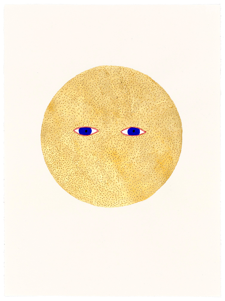 Golden Moon , 2018 watercolour, pencil, composition gold leaf on paper, framed 76 x 56 cm   I ENQUIRE I