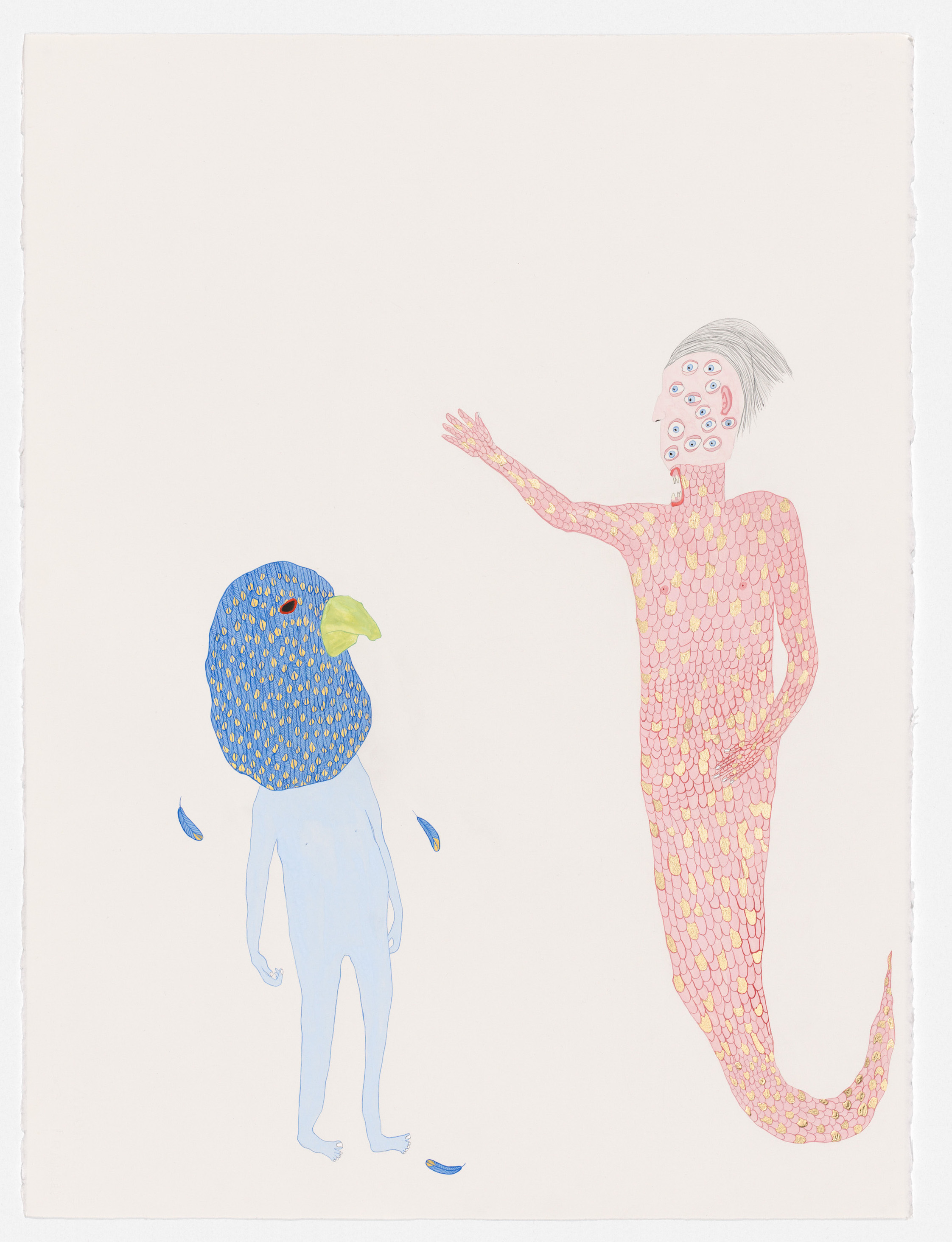 Merman and Budgie , 2019 watercolour, gouache, composition gold leaf, pencil on paper, framed 76 x 56 cm   I ENQUIRE I