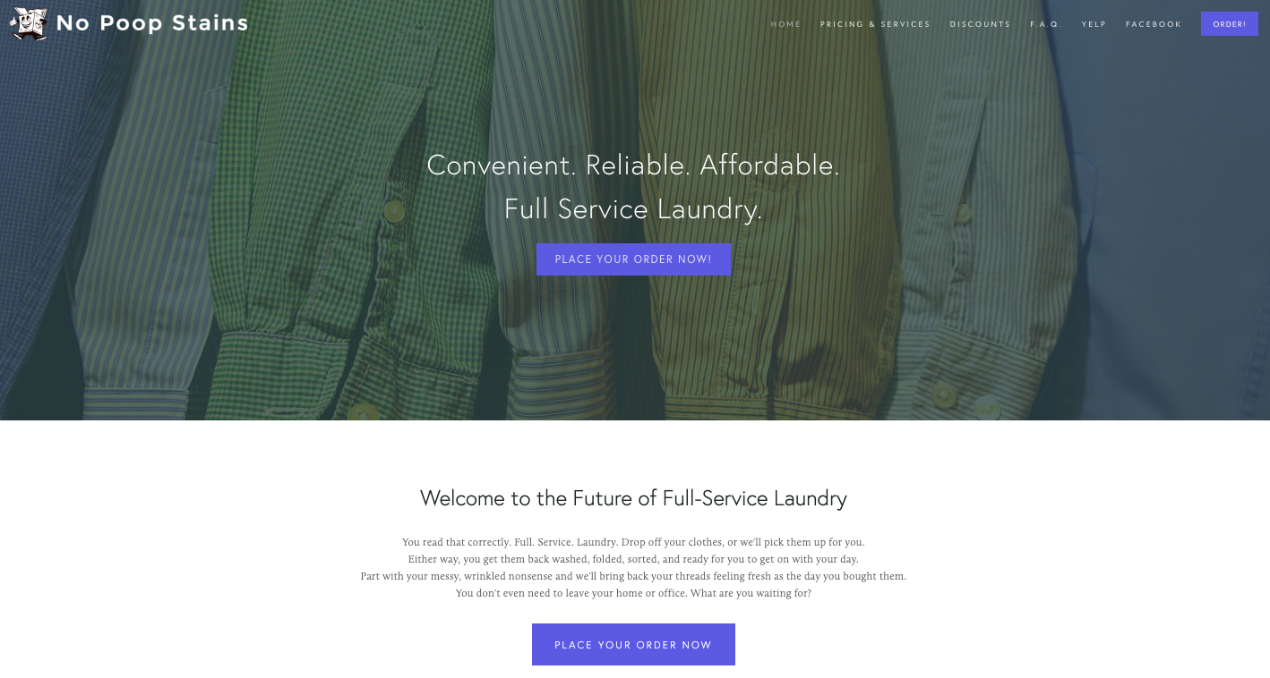 No Poop Stains Laundry Service (all site copy)
