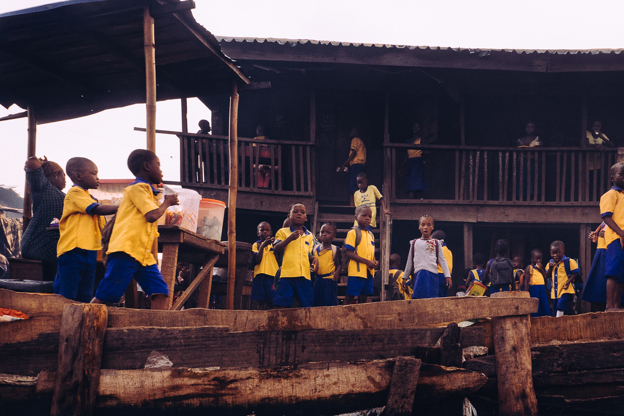 An elementary school in the floating town of Makoko