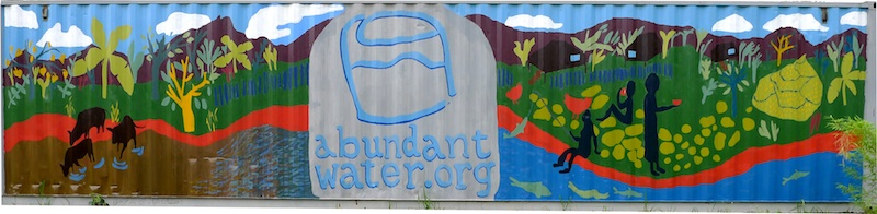 Abundant Water  is a non-governmental organization based in Laos that works to empower people to create their own clean water. This mural was painted at their filter manufacturing facility in Vientiane where they produce filters and train local potters. 2011