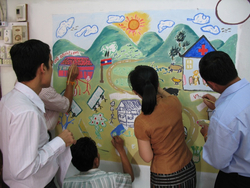 The organization  World Education  hosted me during my tenure as a Fulbright Scholar in Laos from 2010-2011. As a staff, we created in Instant Mural.
